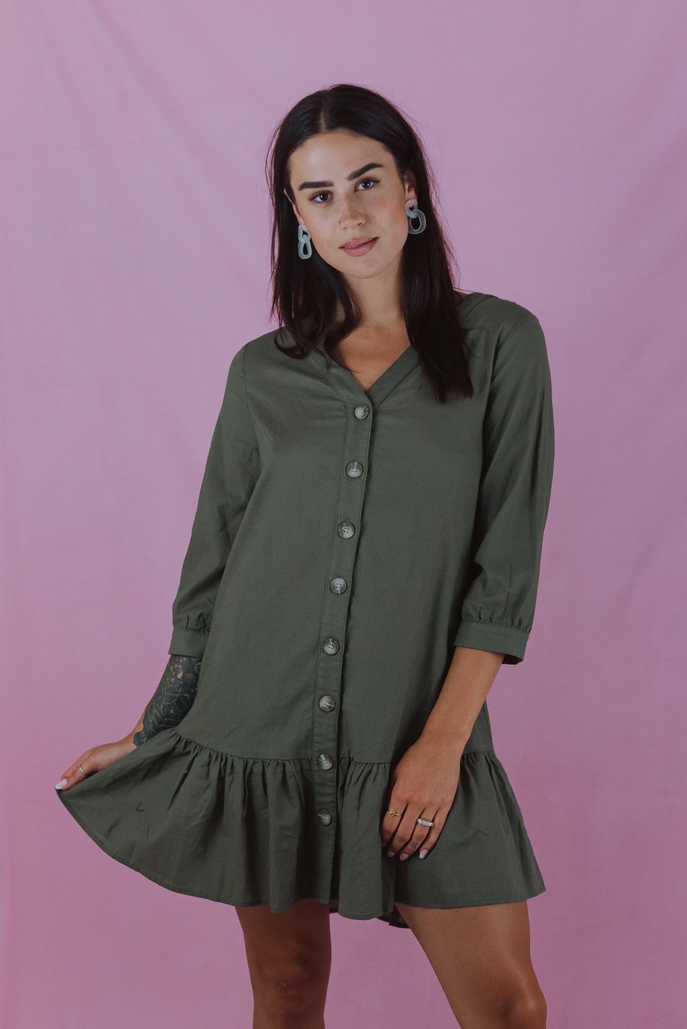 Button Up Ruffle Dress in Olive