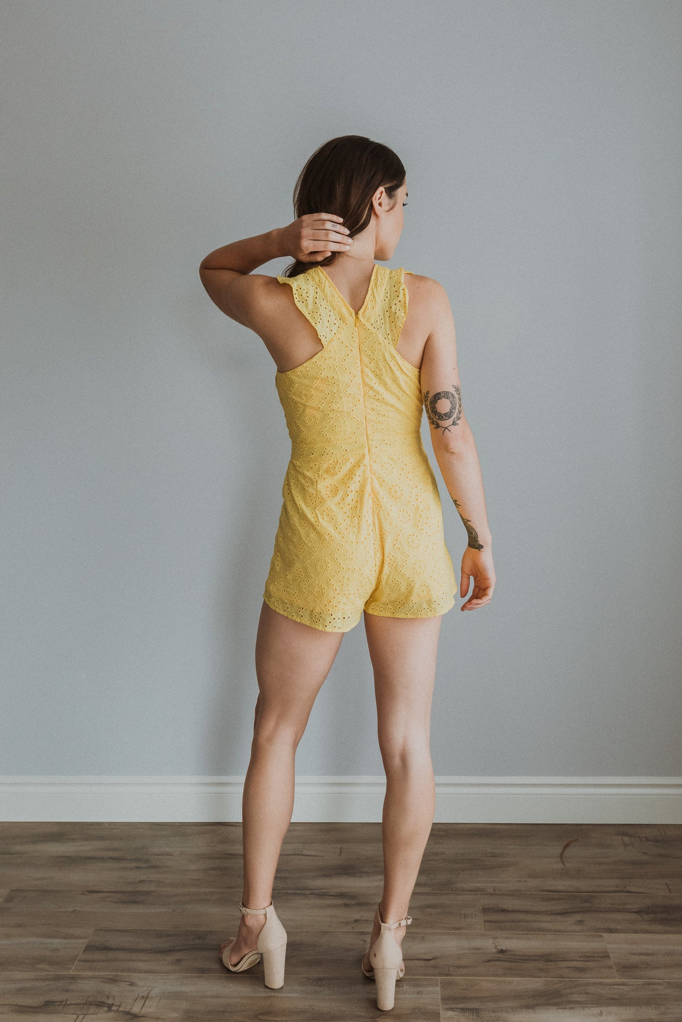 xSOLD OUTx Smell the Flowers Eyelet Romper in Sunflower Yellow