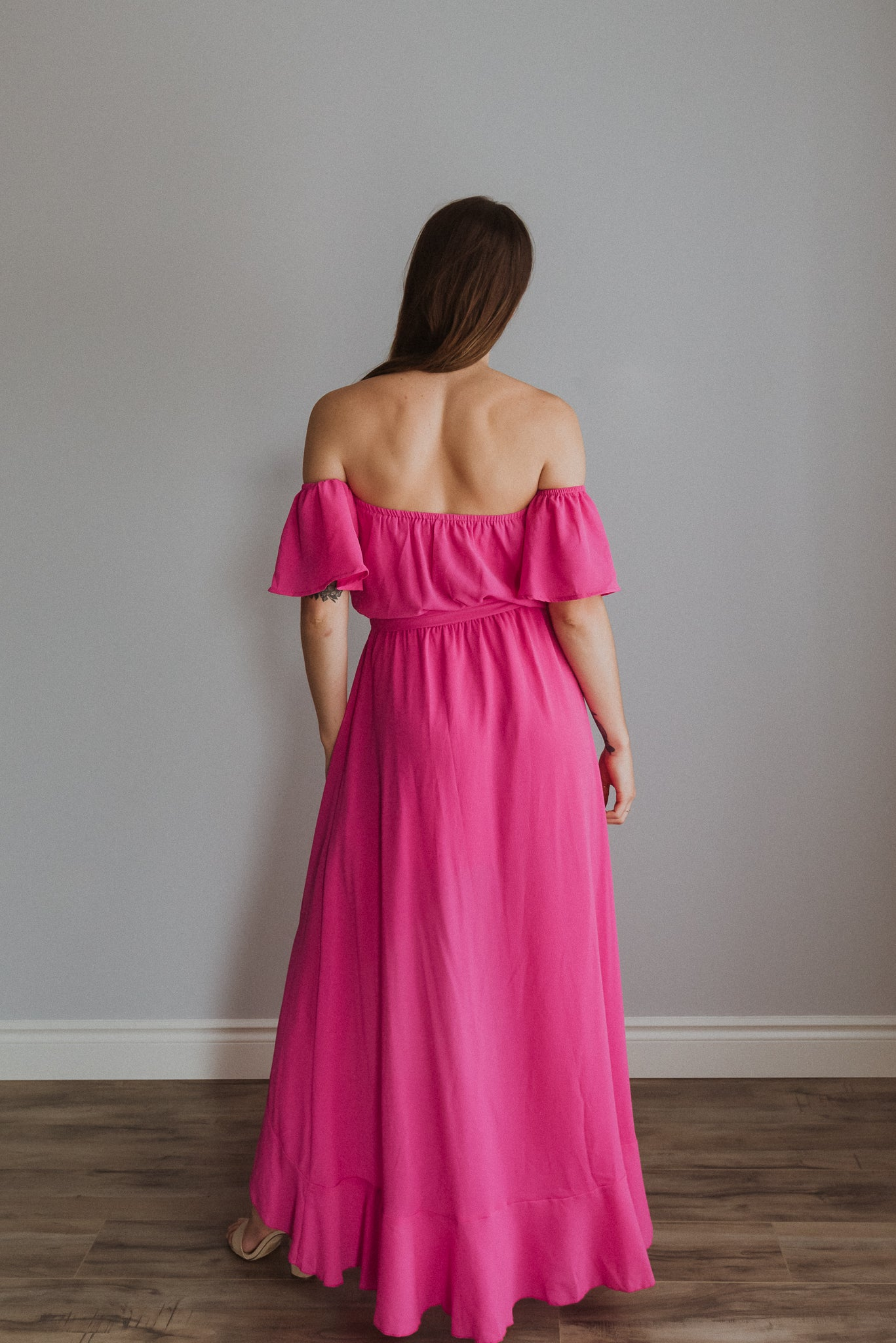 Let's Flamingle Off the Shoulder Ruffle Dress