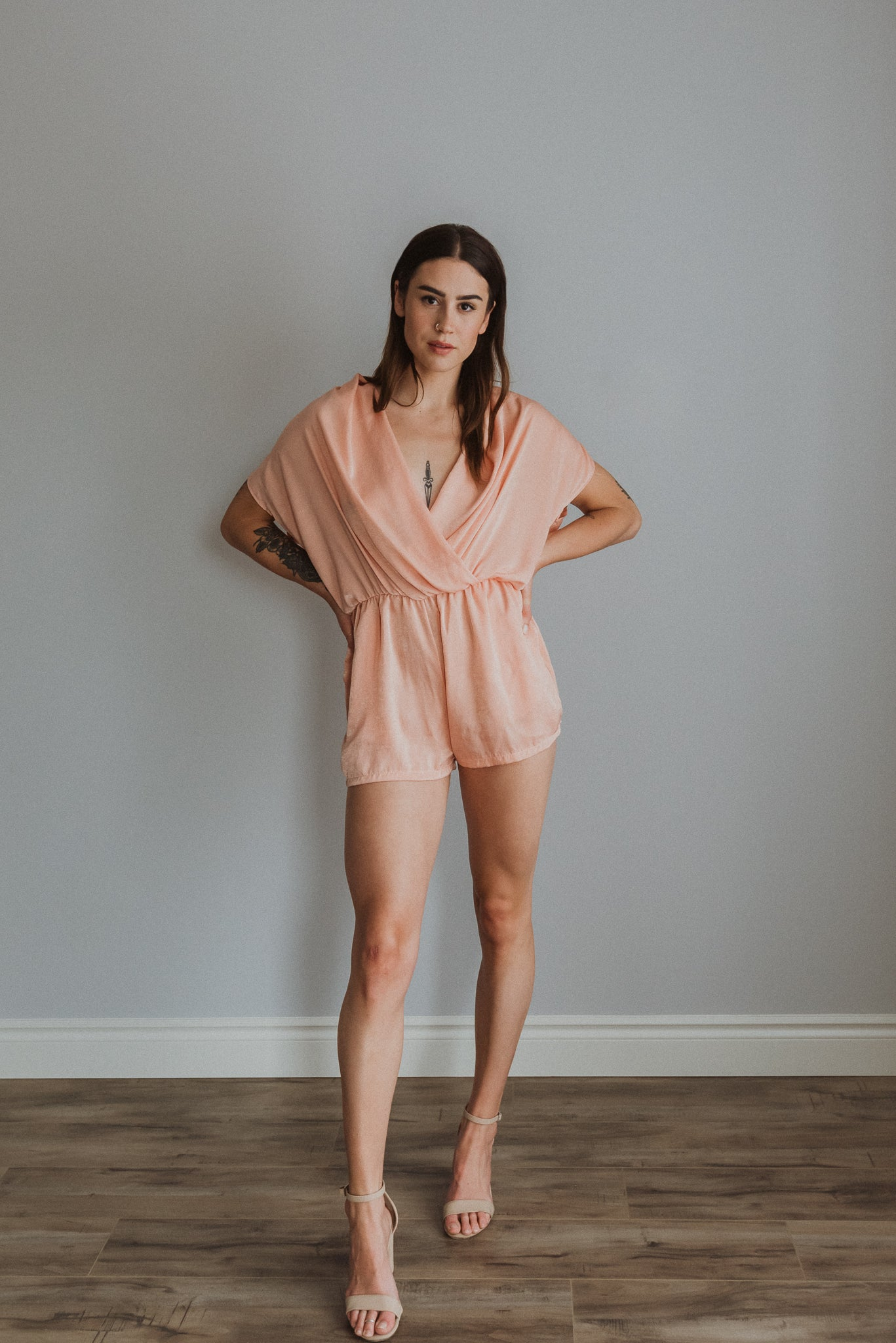 •sold out• Sweet Cantaloupe Wrap Style Romper
