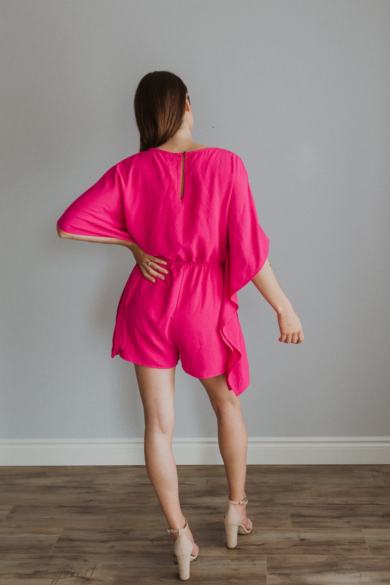 •sold out• Summer Loving Kimono Romper in Fuchsia