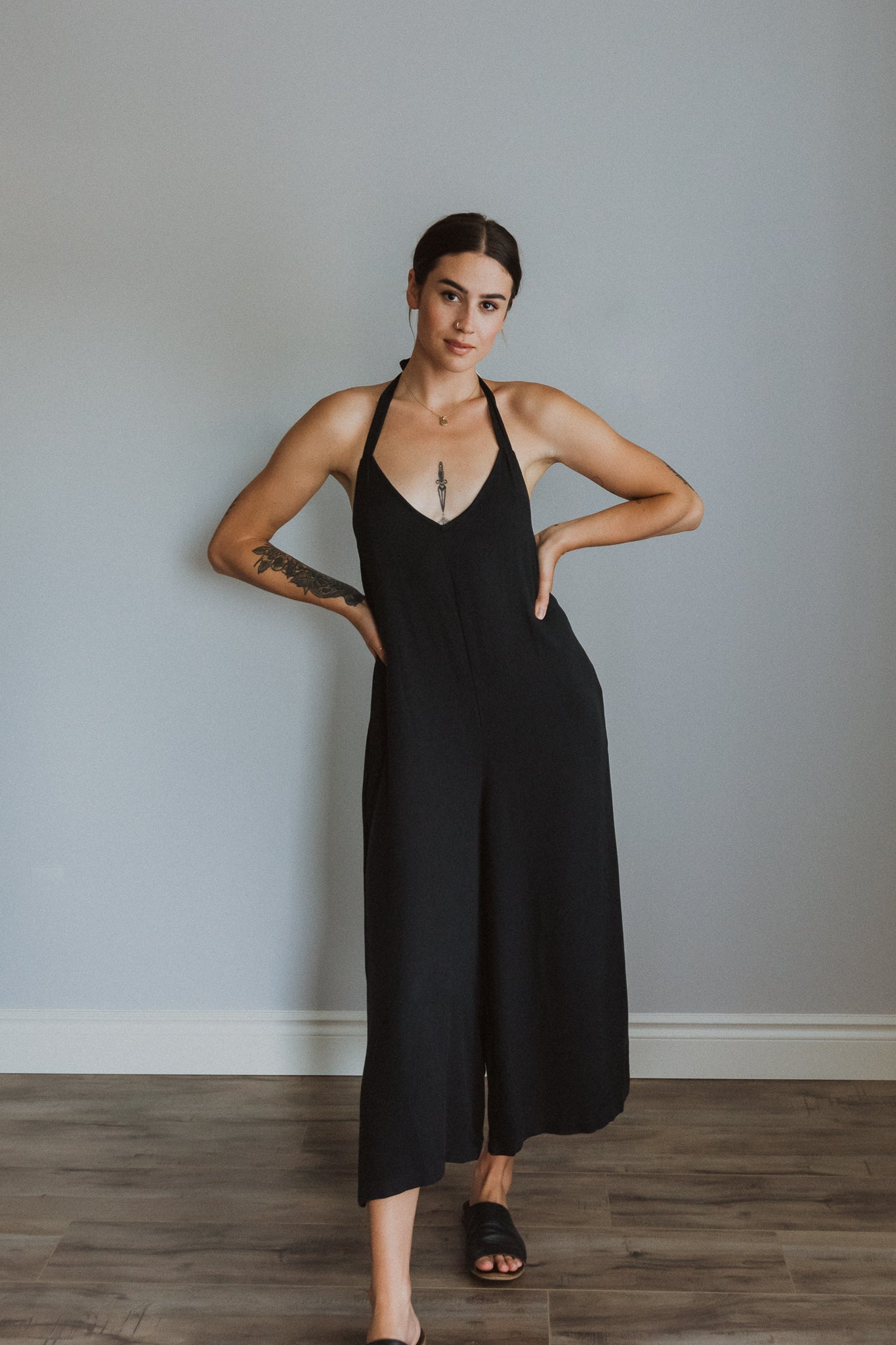 Time to Chill Wide Leg Halter Jumpsuit in Black