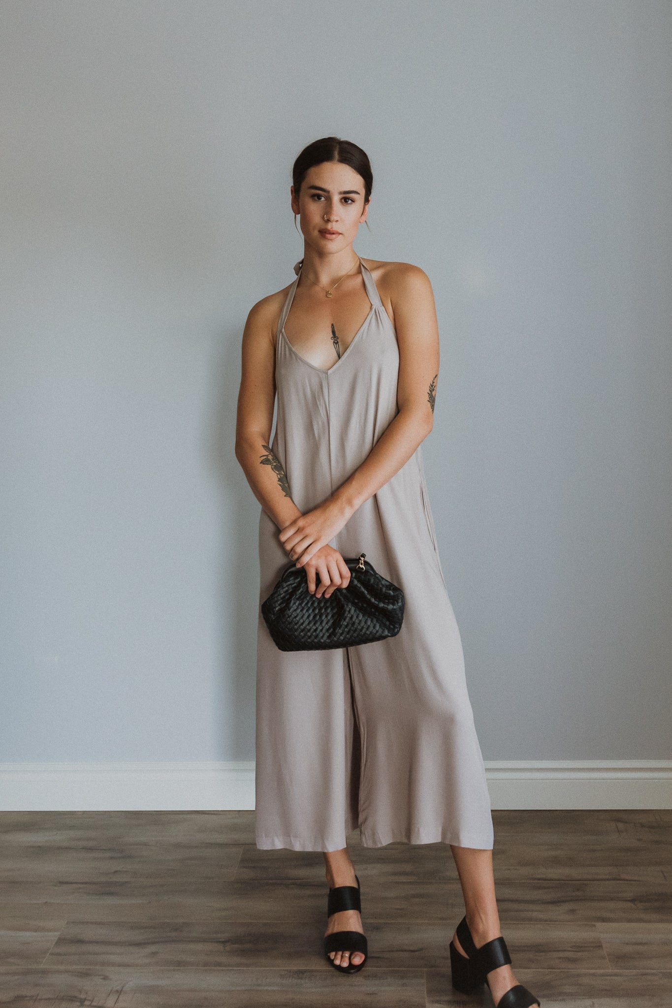 Time to Chill Wide Leg Halter Jumpsuit in Taupe