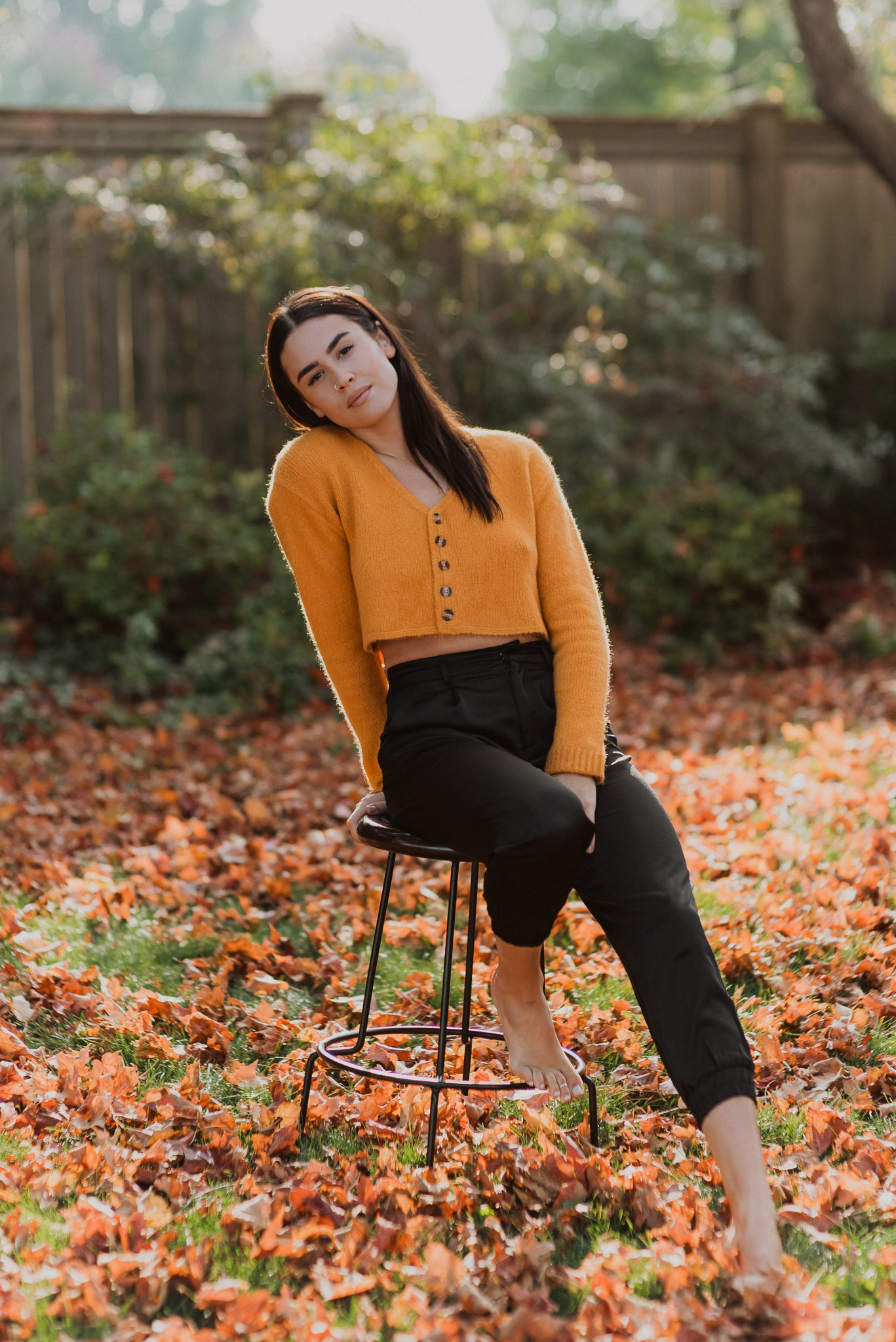 Harvest Season Cropped Sweater Cardigan in Mustard
