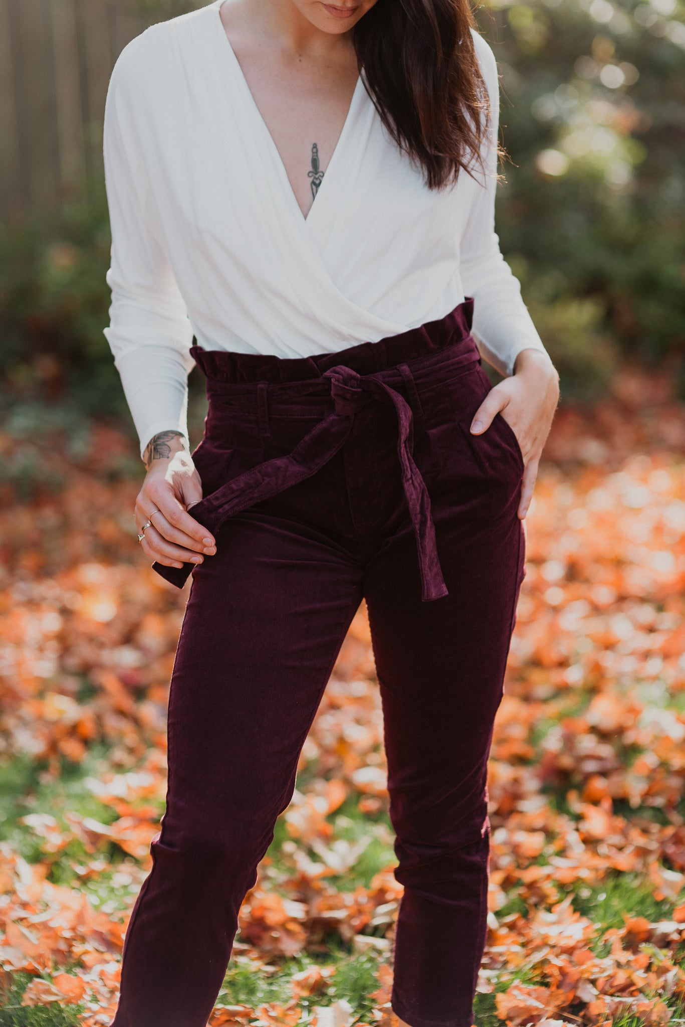 •sold out• Wine and Dine Me Corduroy Paperbag Pants
