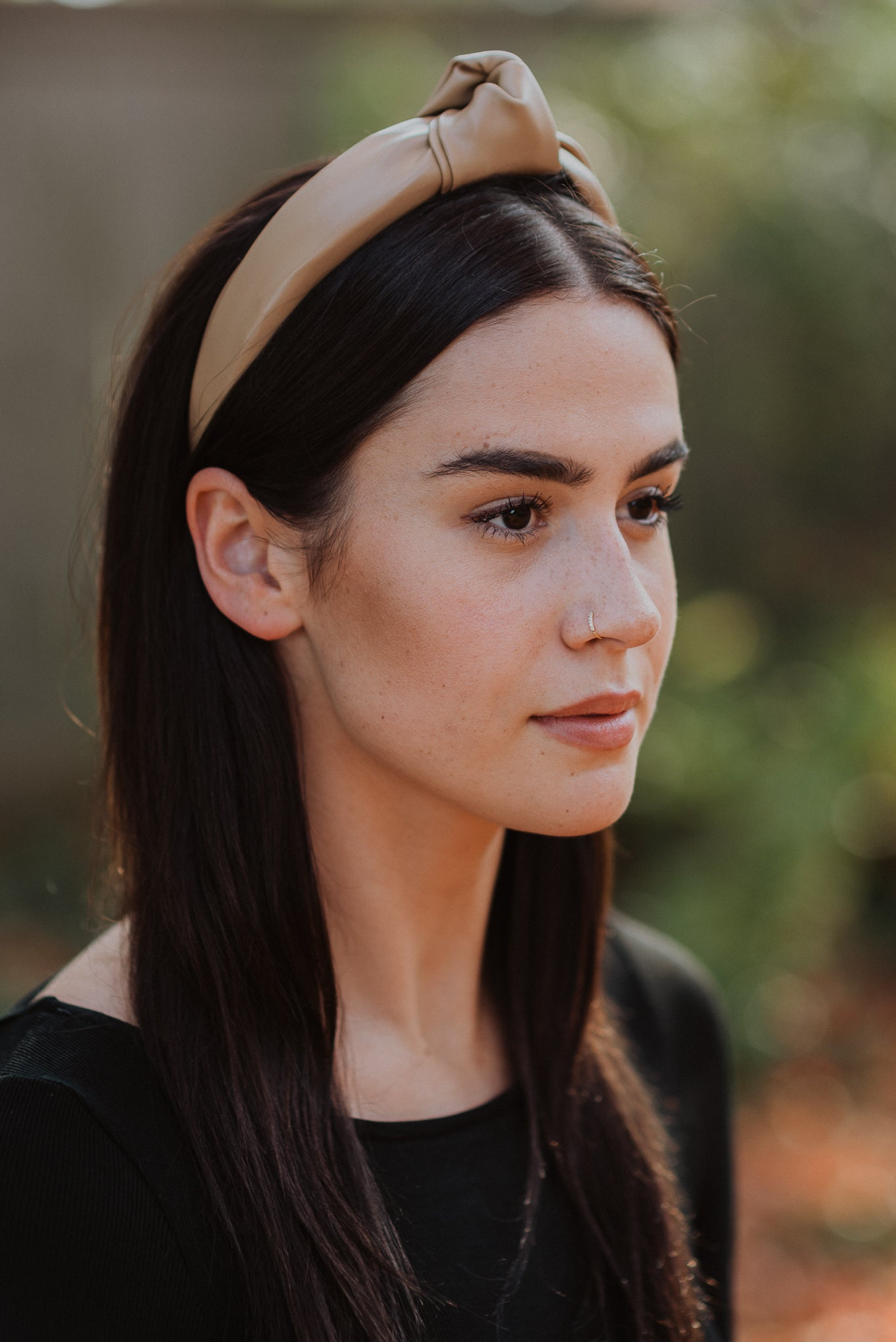 What's Knot To Like Faux Leather Headband in Camel