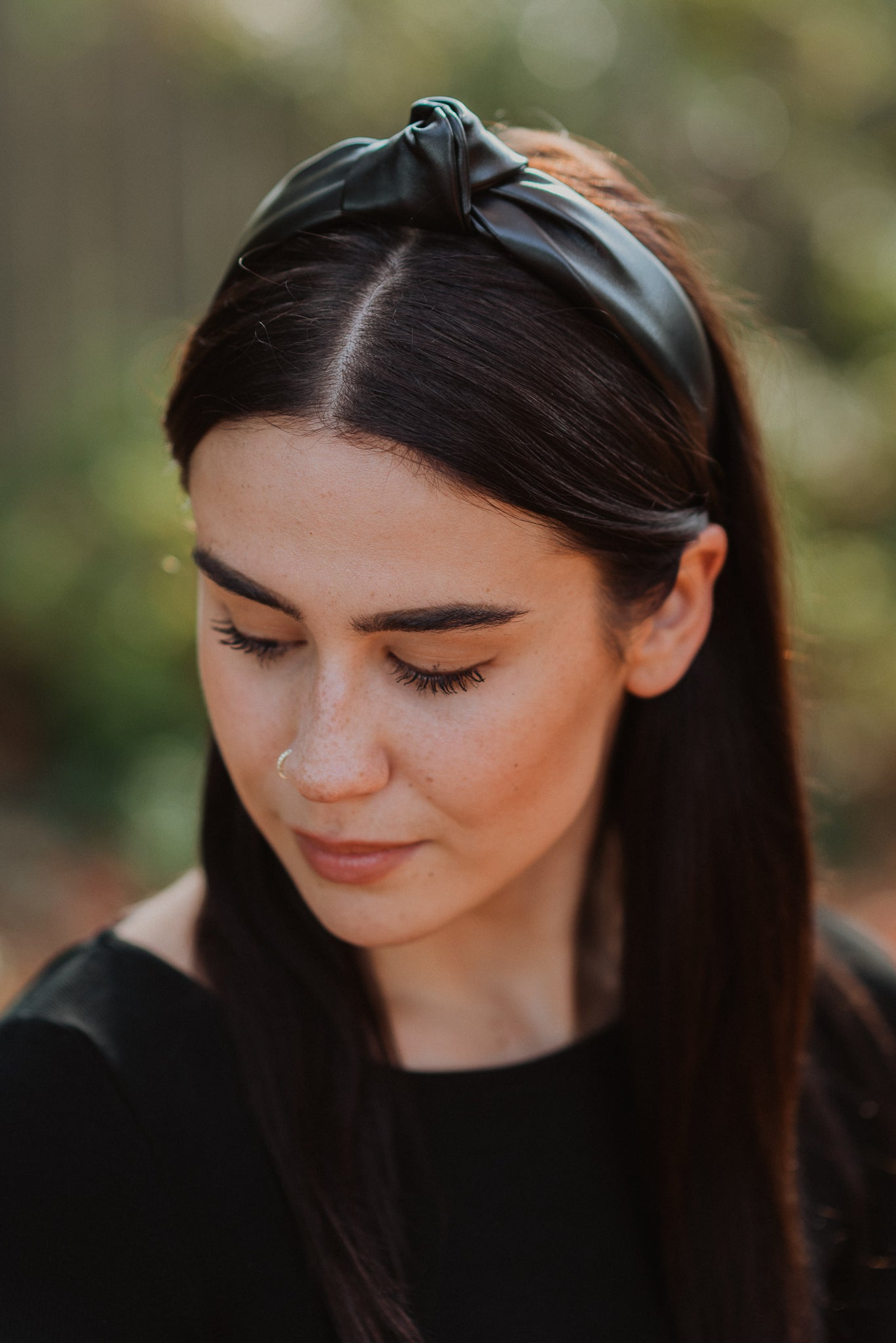 What's Not To Like Faux Leather Headband in Black