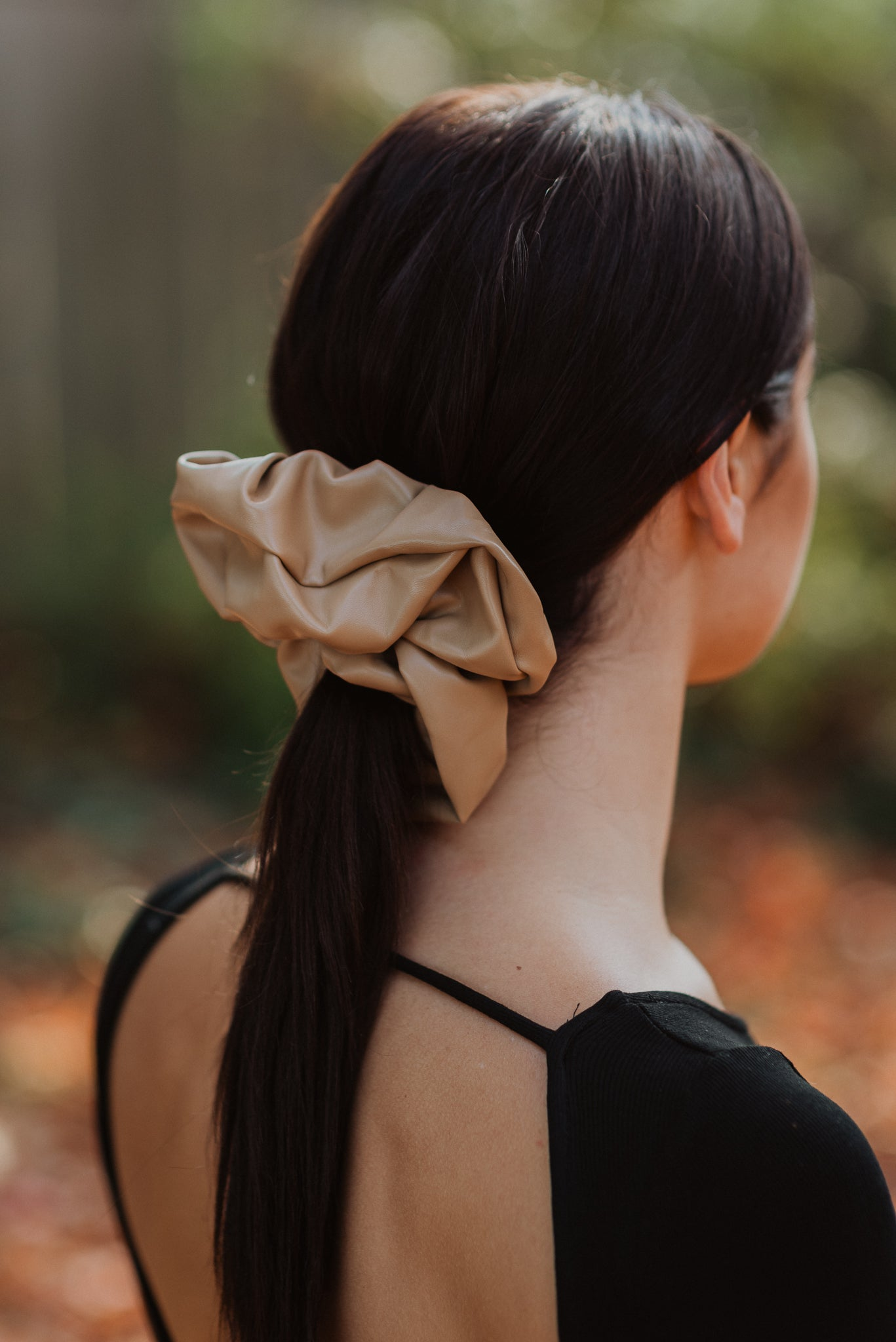 Wild At Heart Faux Leather Scrunchie in Camel