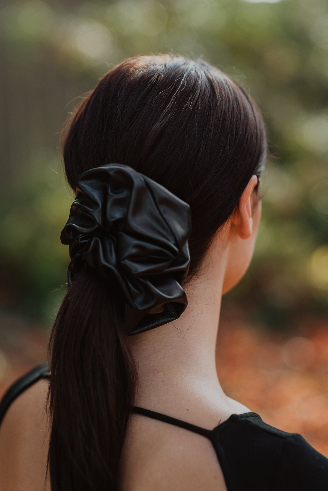 Wild At Heart Faux Leather Scrunchie in Black