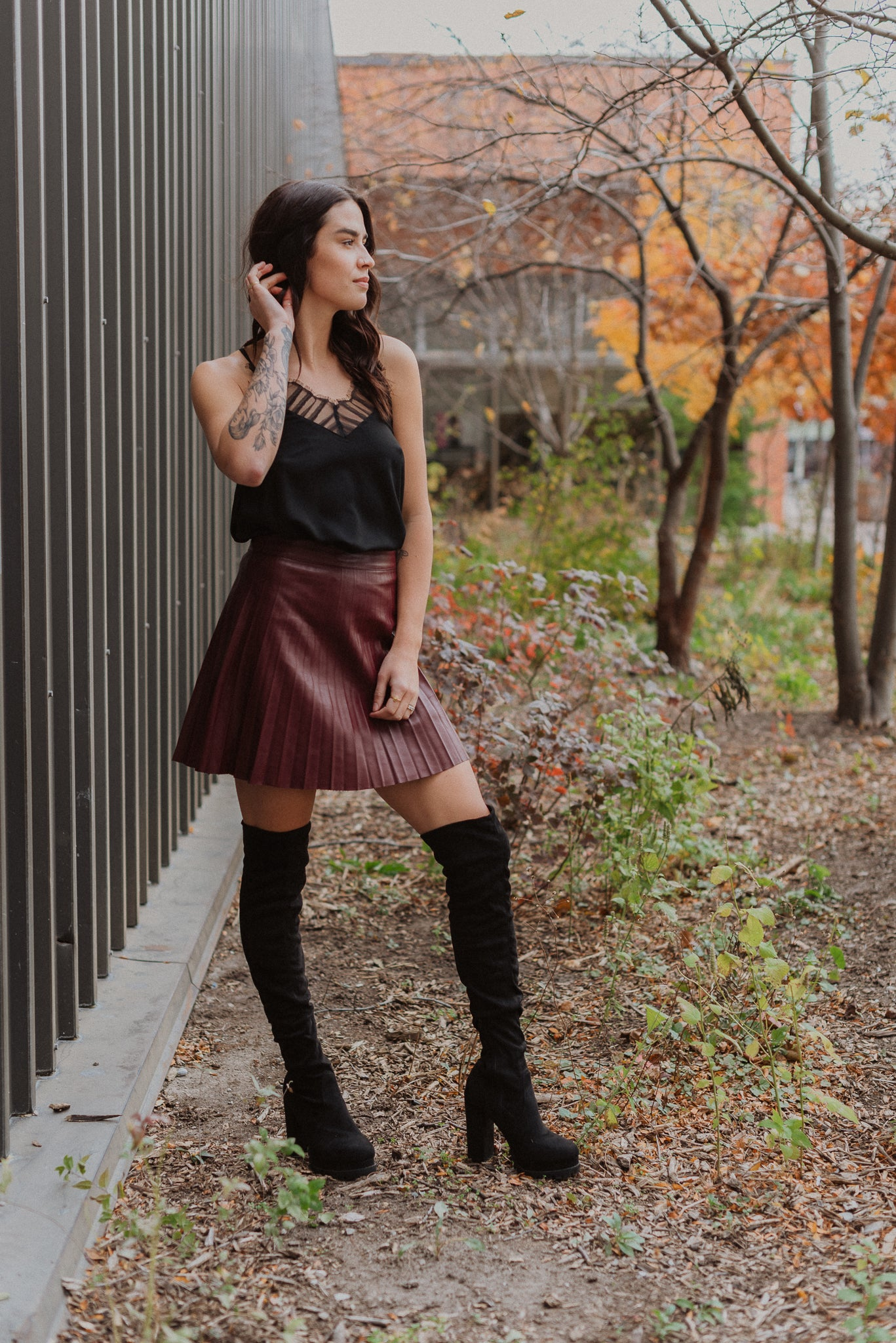 Pleat and Greet Faux Leather Skirt in Wine / FINAL SALE