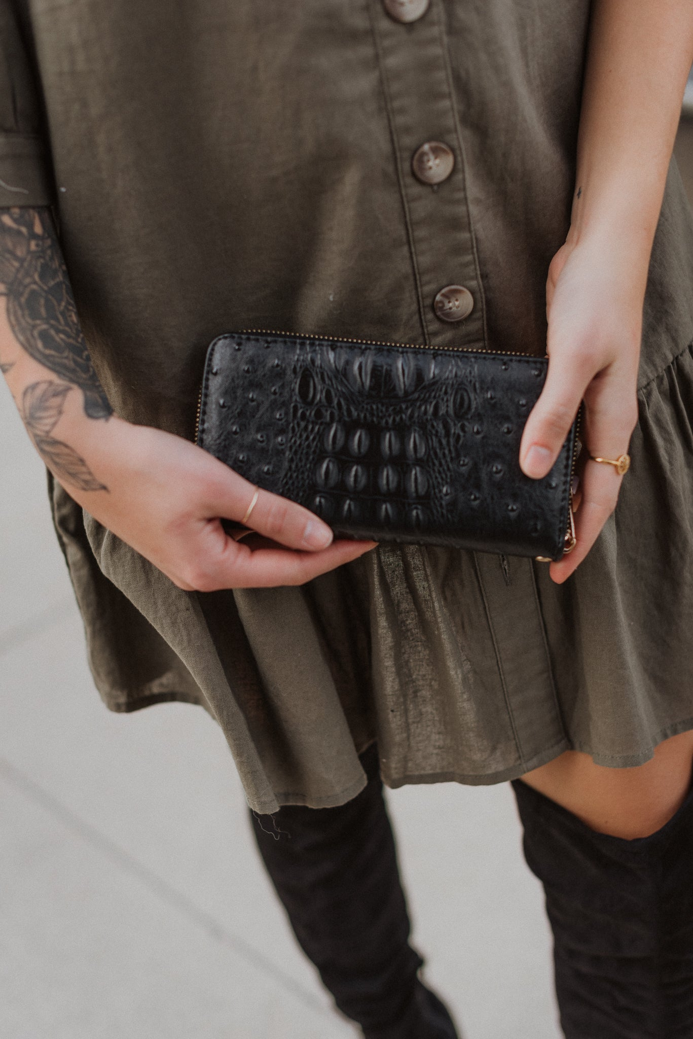 Easy to Adore Zip Around Wristlet in Black