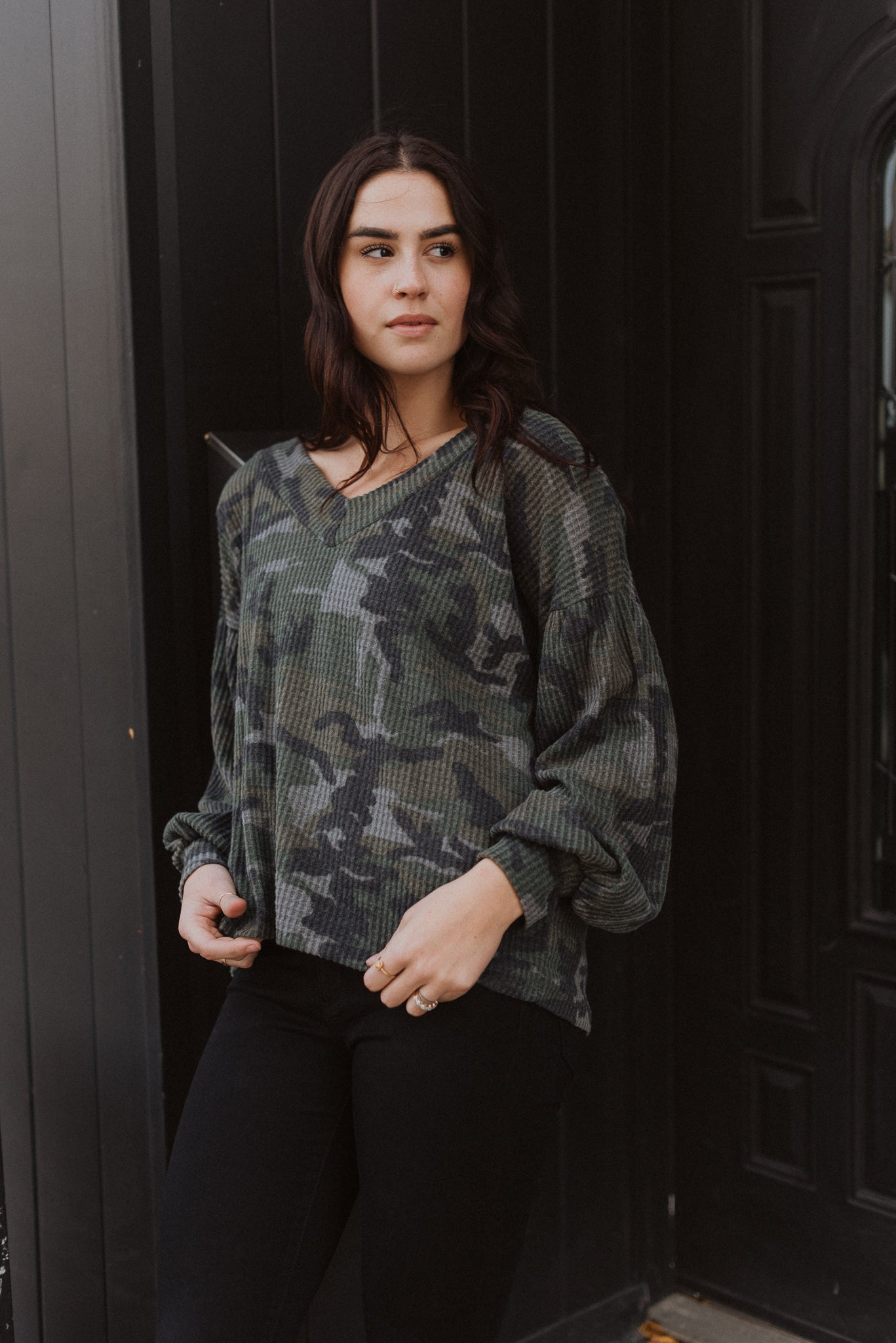 Call It Casual Camo Waffle Knit Top / FINAL SALE