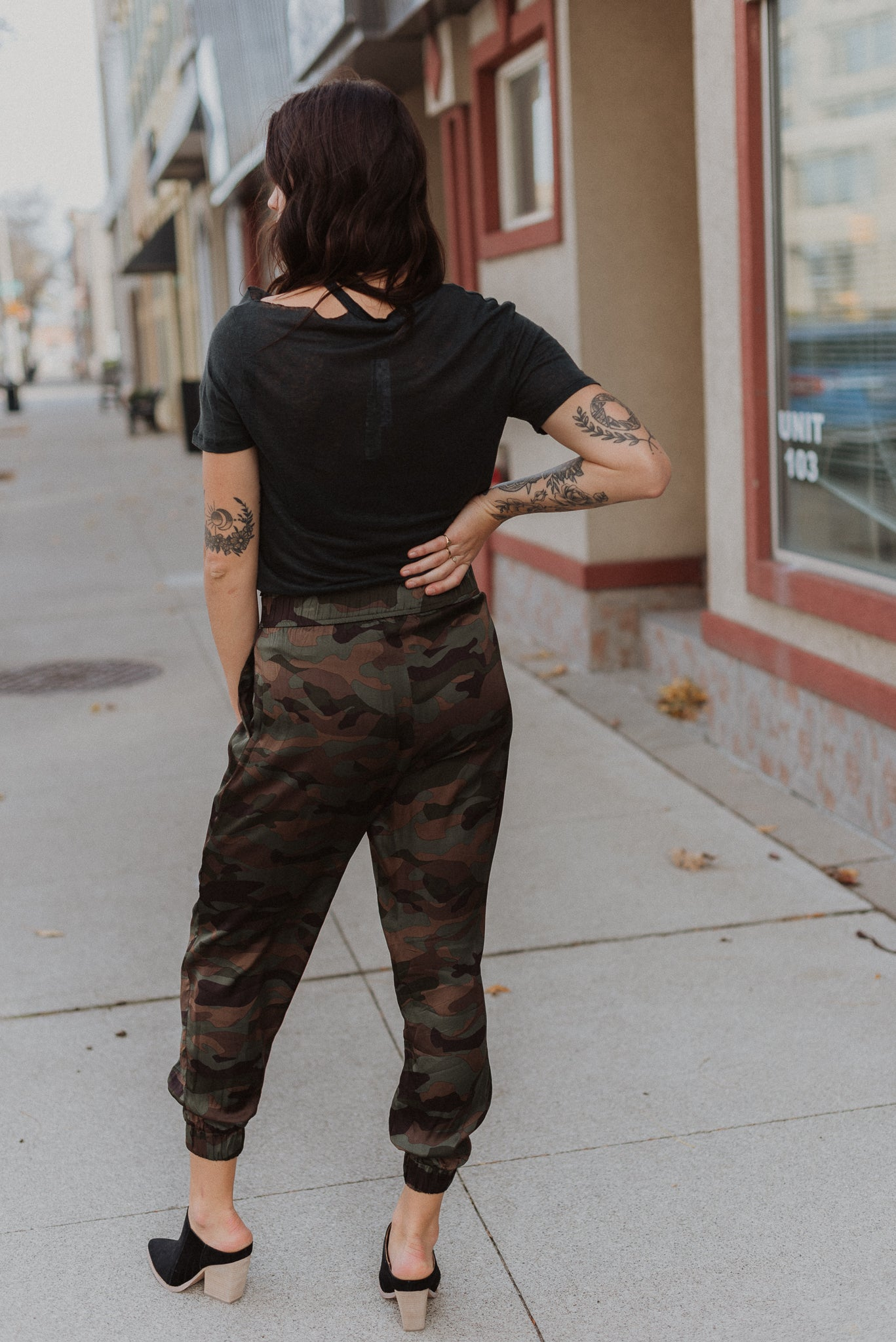 Come and Find Me Satin Camo Joggers