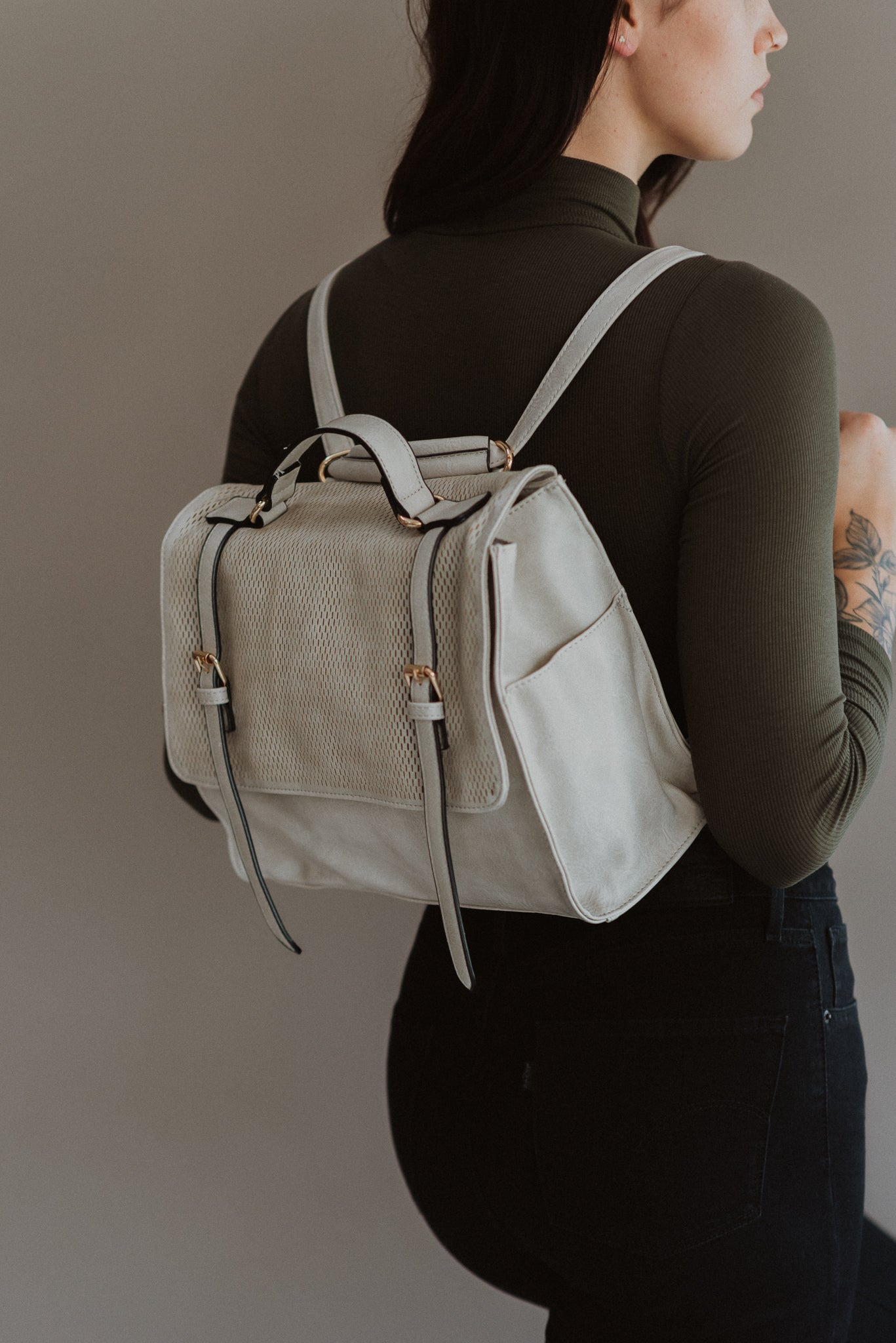 Going Places Convertible Backpack in Light Grey