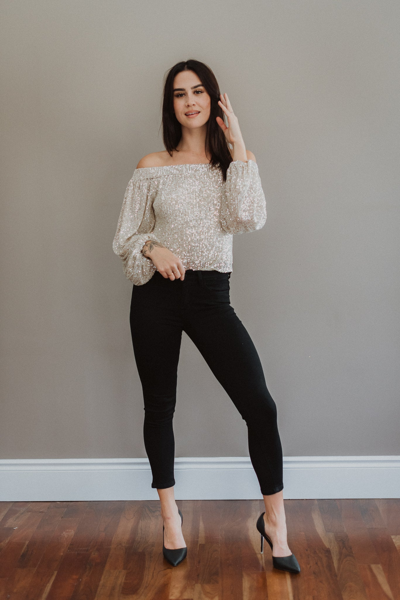 Look and Glisten Off The Shoulder Sequin Top in Taupe