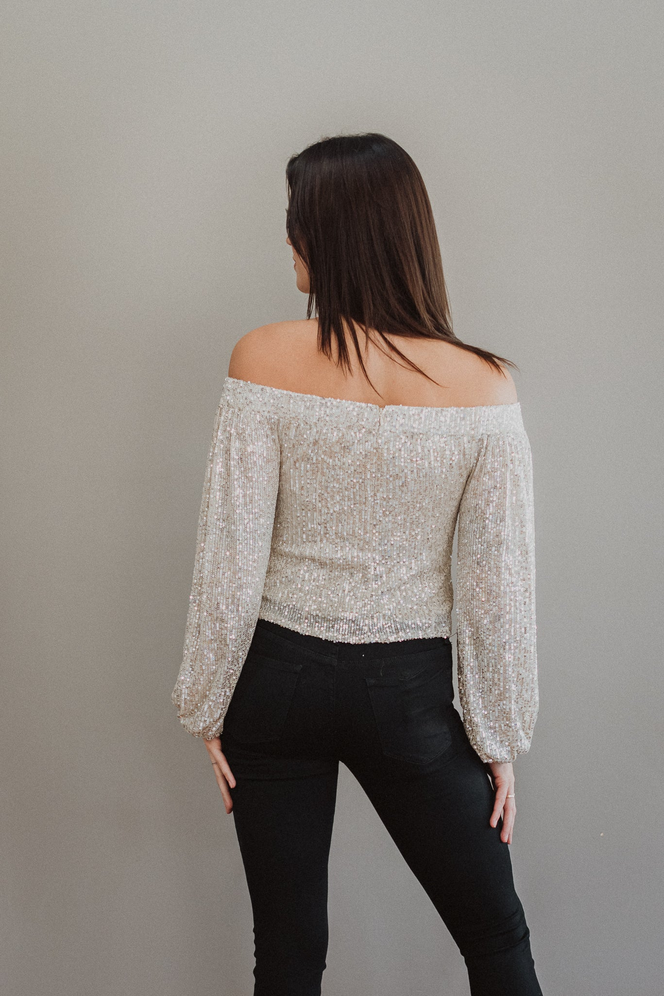Look and Glisten Off The Shoulder Sequin Top in Taupe / FINAL SALE