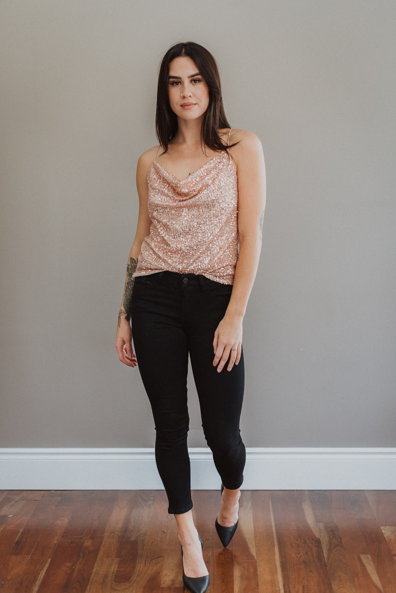 Sparkle Hour Sequin Cami Top in Rose Gold / FINAL SALE