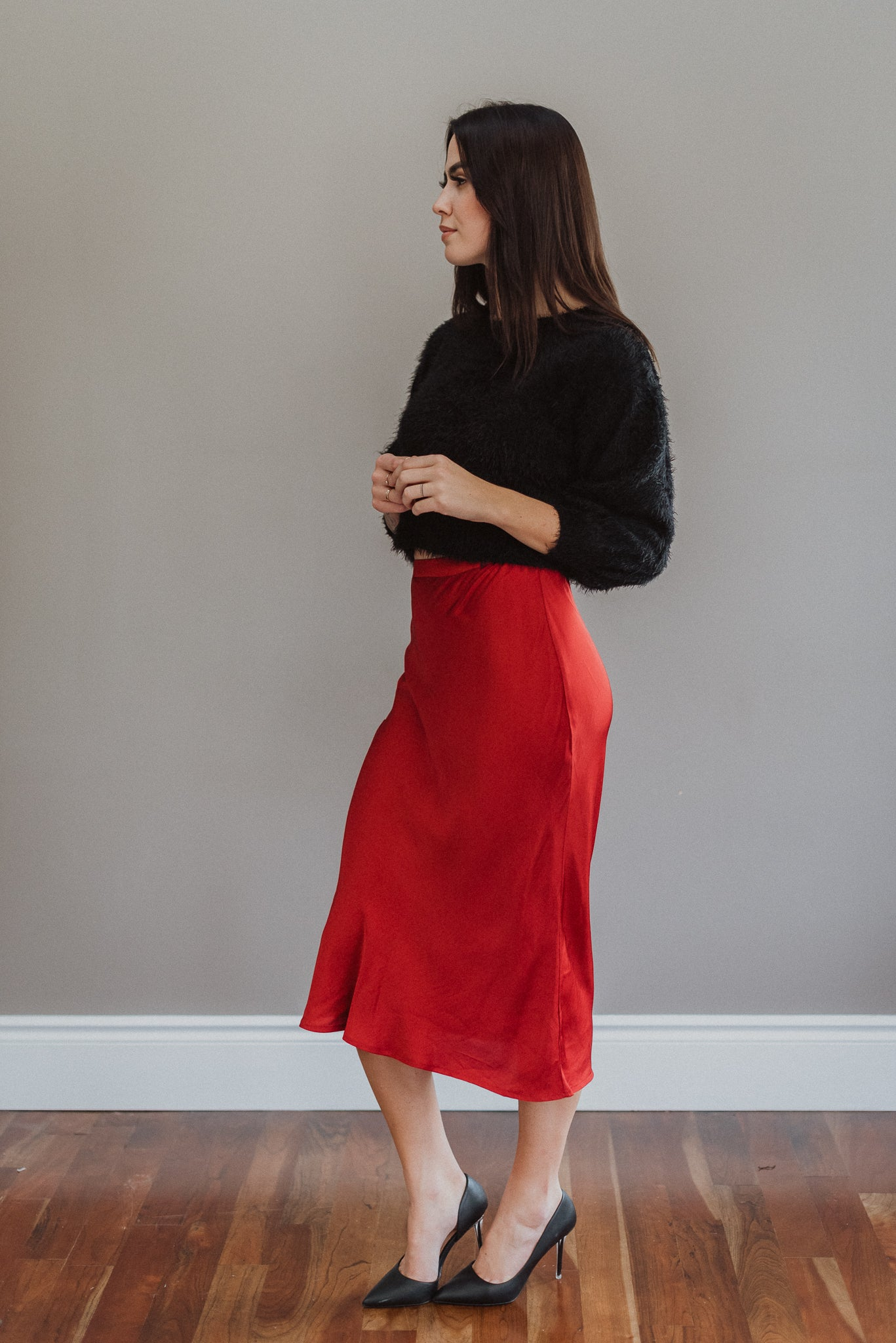 Rouge Hour Satin Midi Skirt