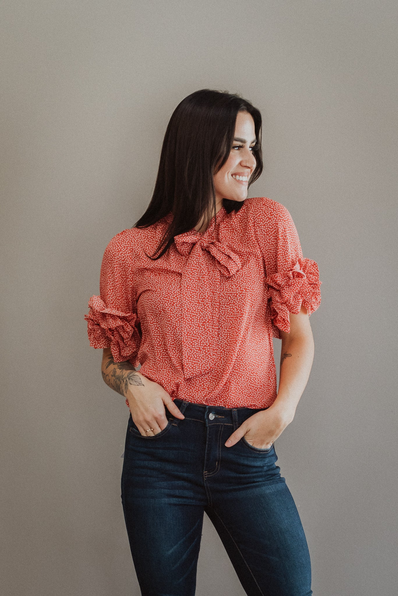 Sweet Spot Ruffle Tie Neck Top