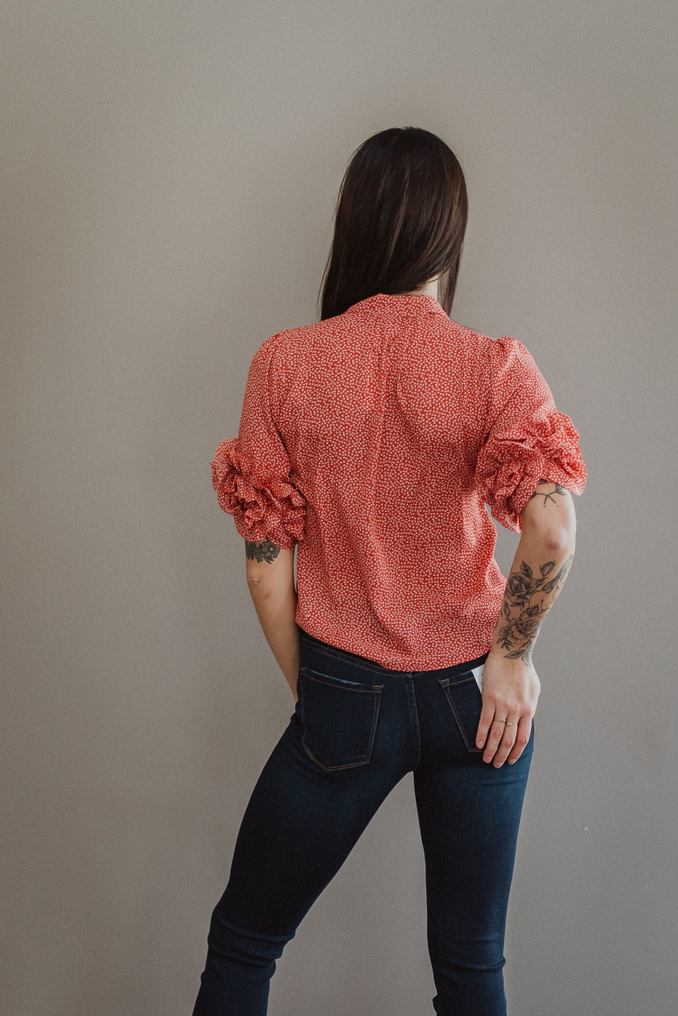 Sweet Spot Ruffle Tie Neck Top / FINAL SALE