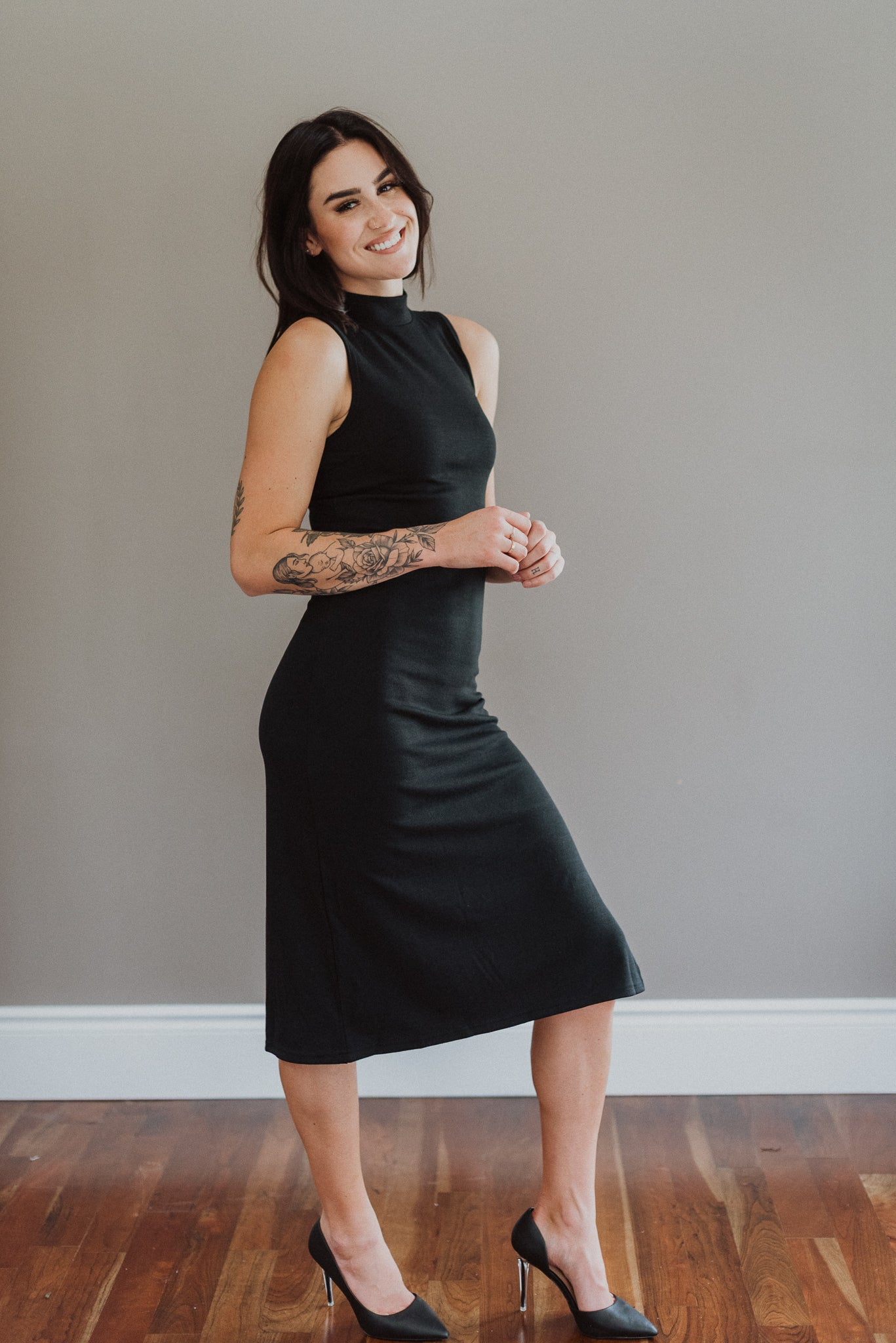 More the Merrier Sleeveless Midi Dress in Black
