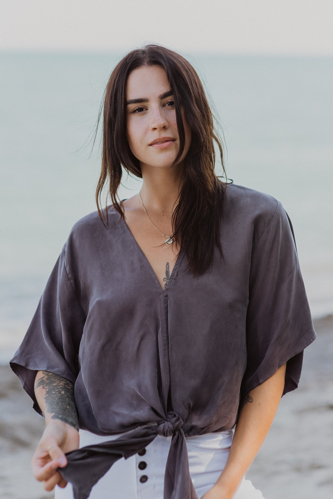 Date Night Kimono Sleeve Top in Charcoal