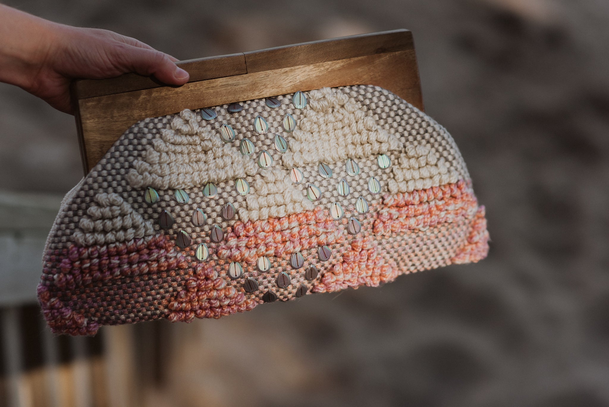 Seashells By The Sea Shore Beaded Clutch