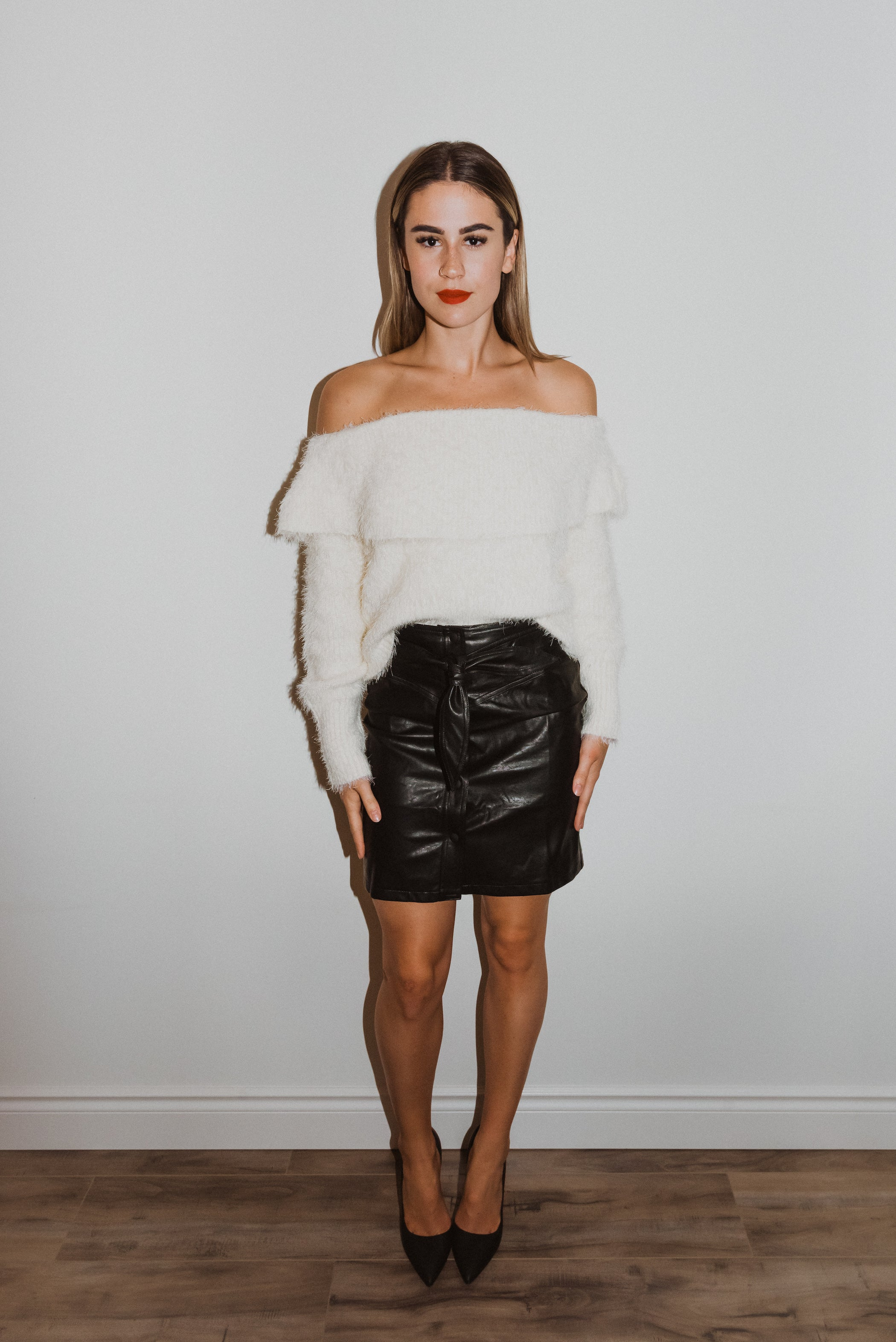 You're a Bad Ass Babe Faux Leather Belted Miniskirt