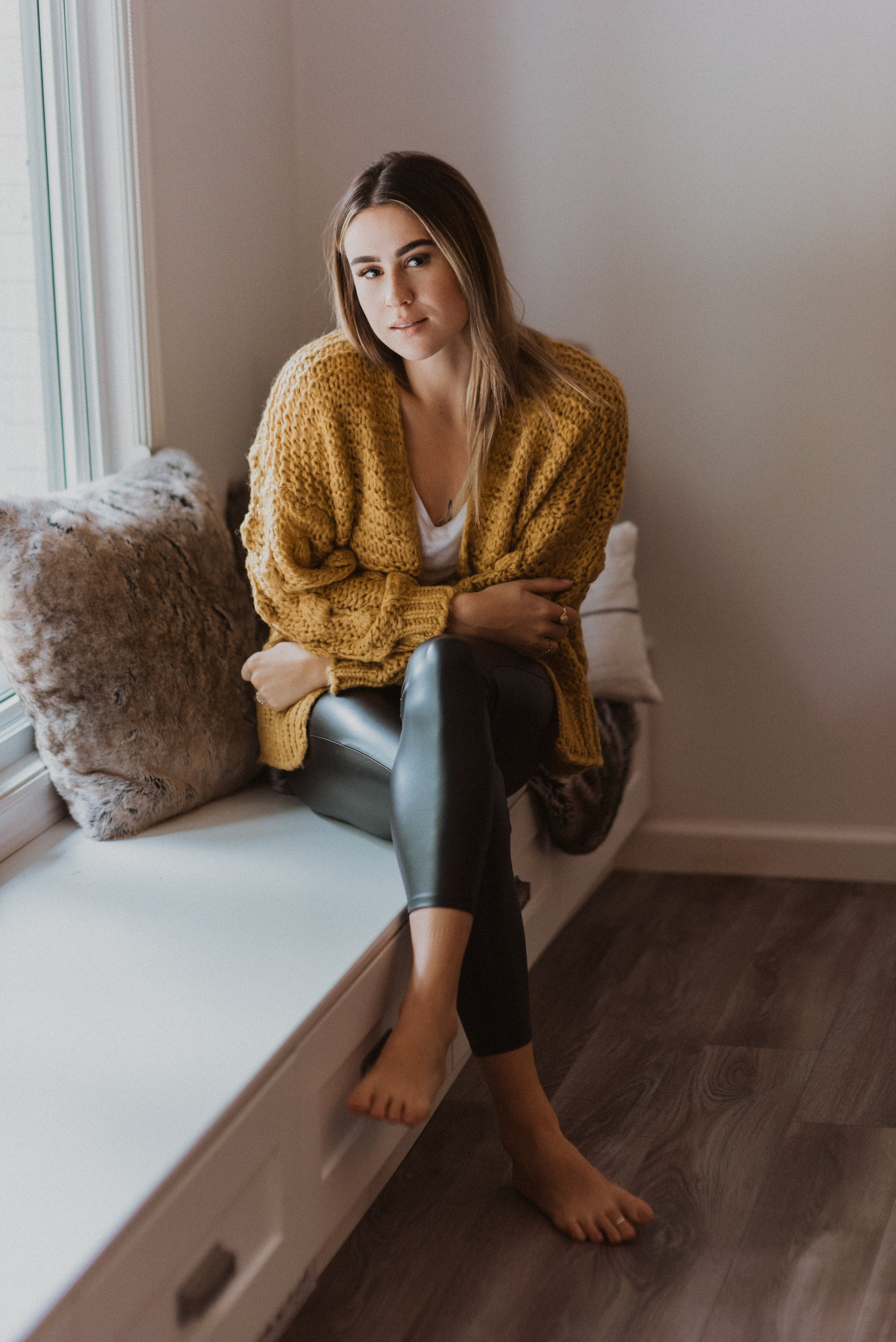 Have to Have Chunky Knit Pom Pom Cardigan in Mustard