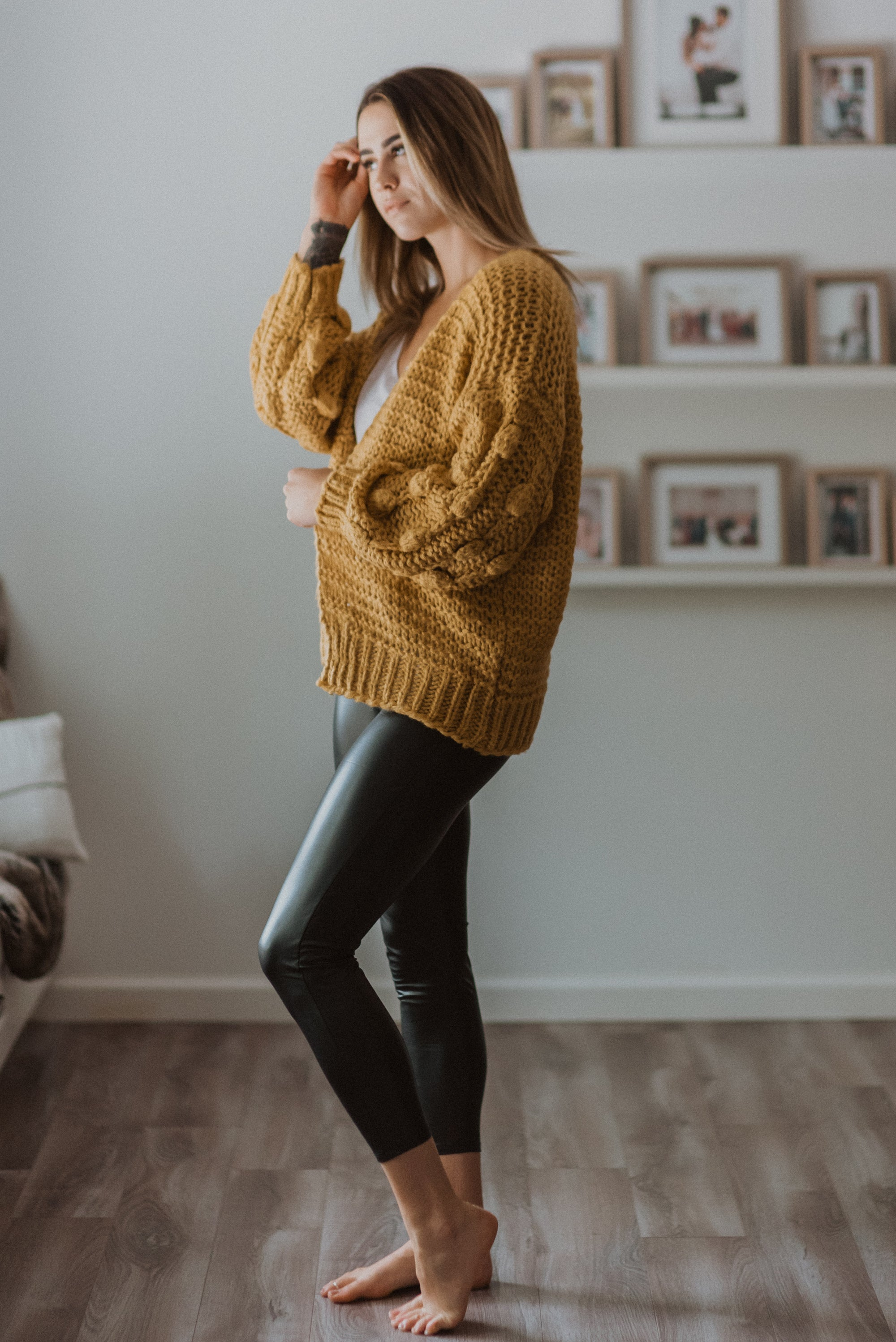 SOLD OUT / Have to Have Chunky Knit Pom Pom Cardigan in Mustard