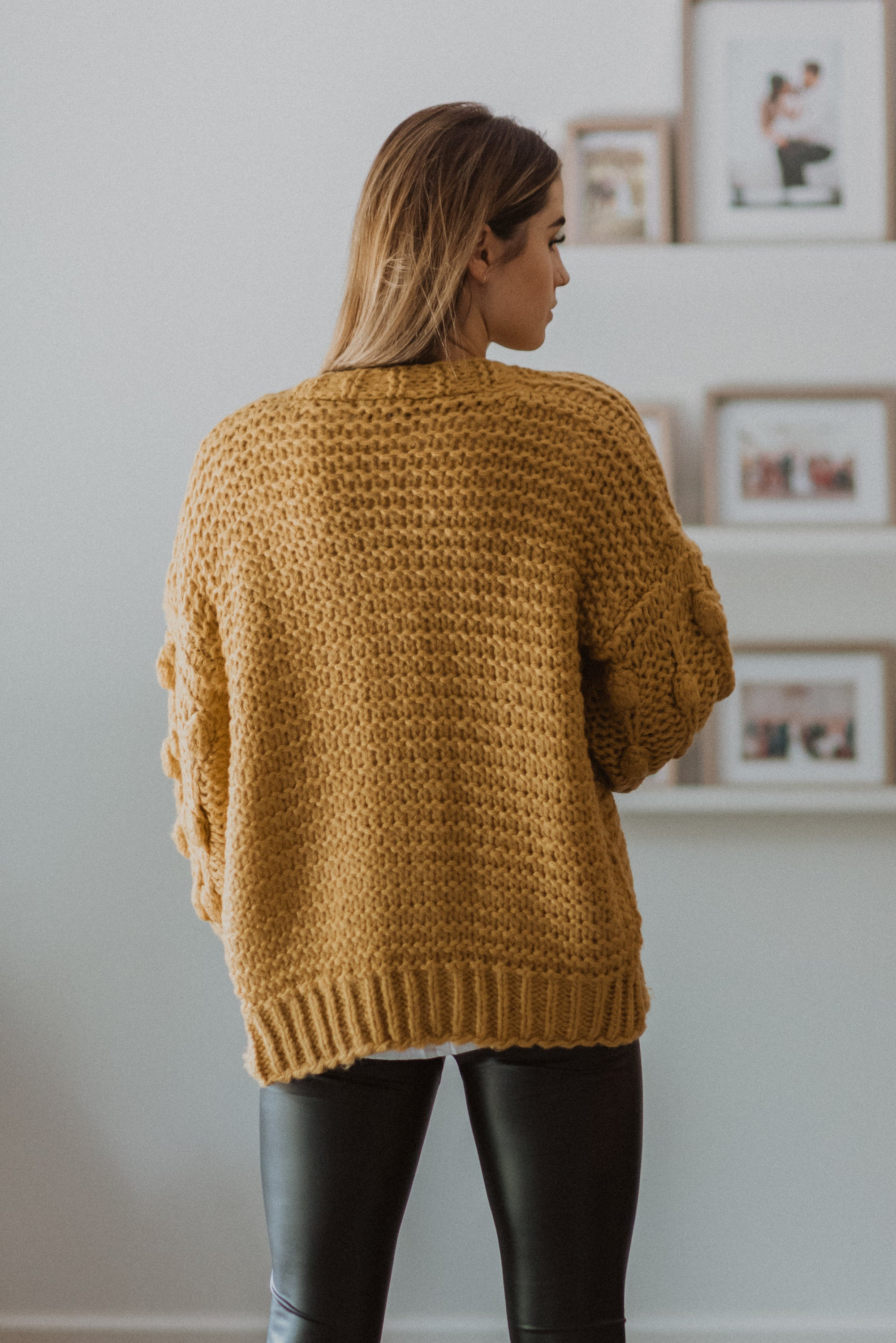 •sold out• Have to Have Chunky Knit Pom Pom Cardigan in Mustard