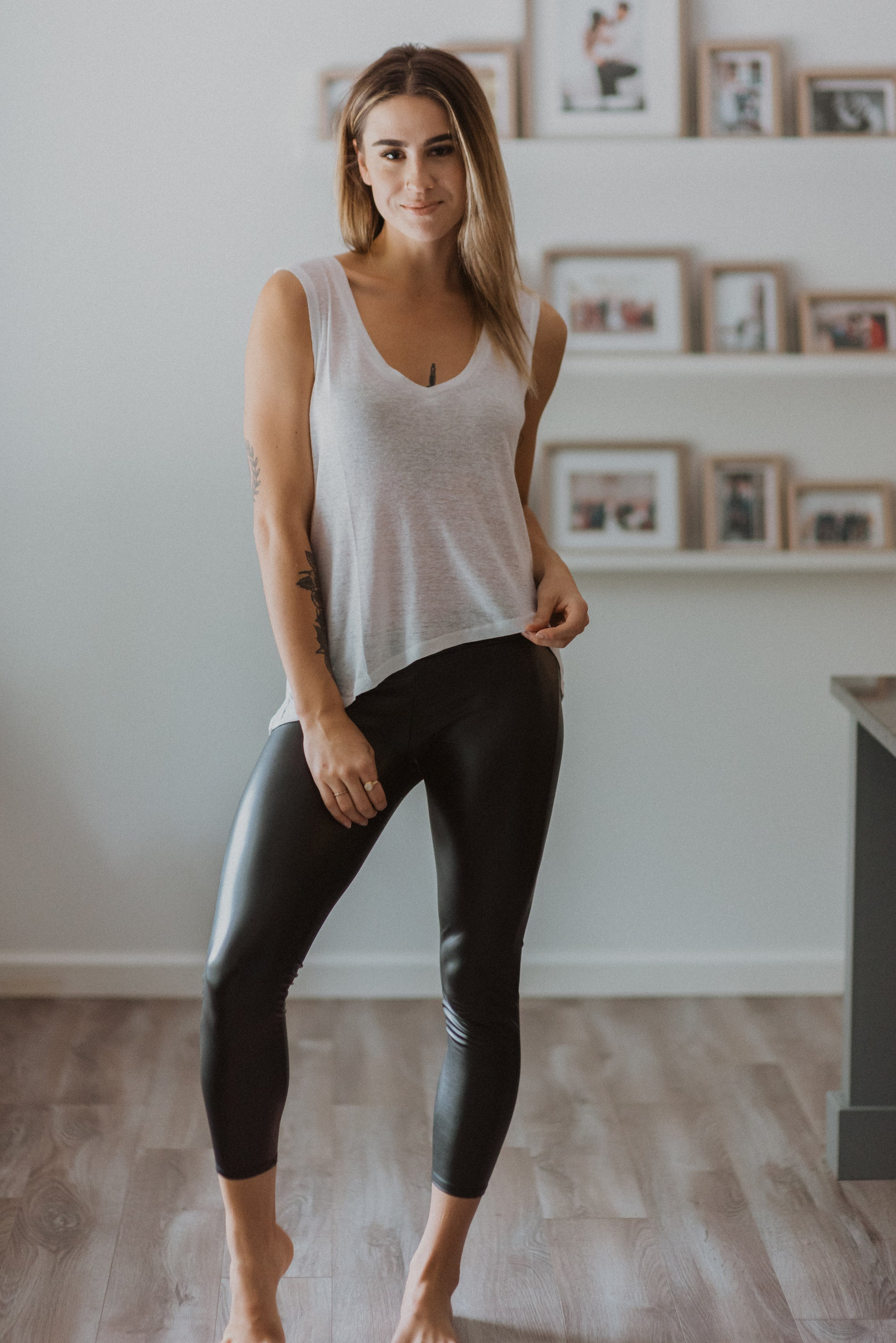 Liquid Leather High-Waist Leggings