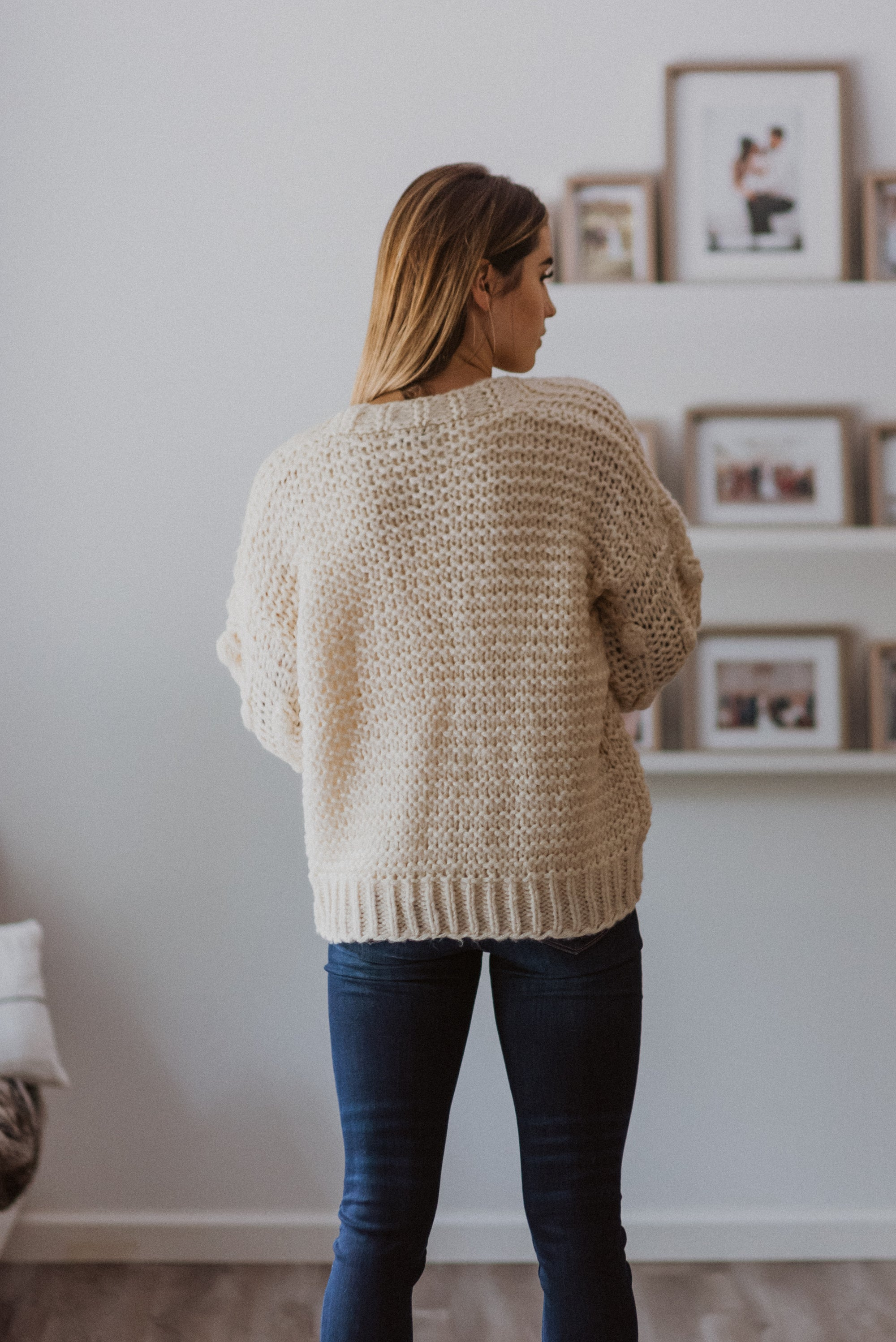 Have to Have Chunky Knit Pom Pom Cardigan in Off White / FINAL SALE