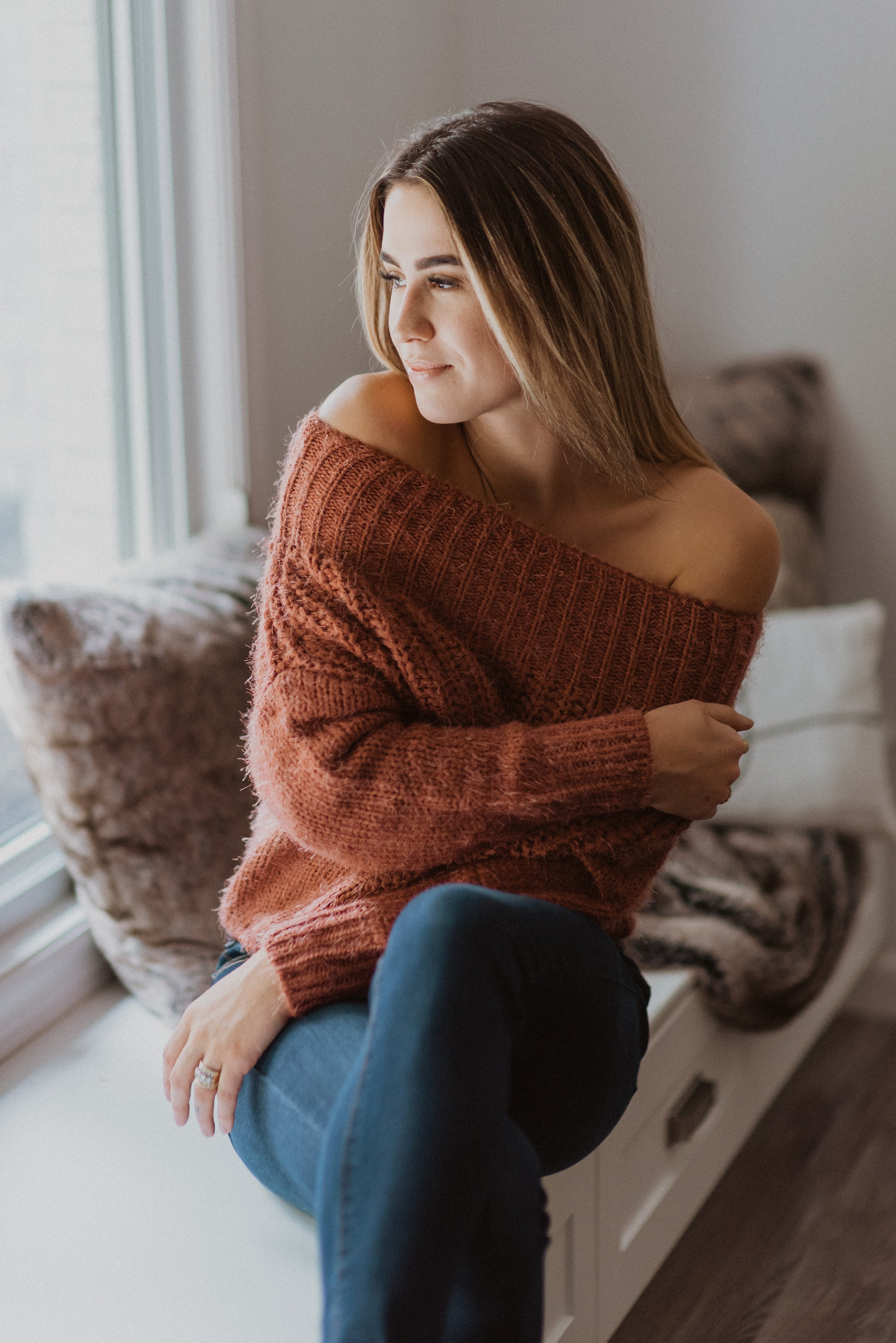 Feeling Pretty Eyelash Knit Off the Shoulder Sweater in Rust