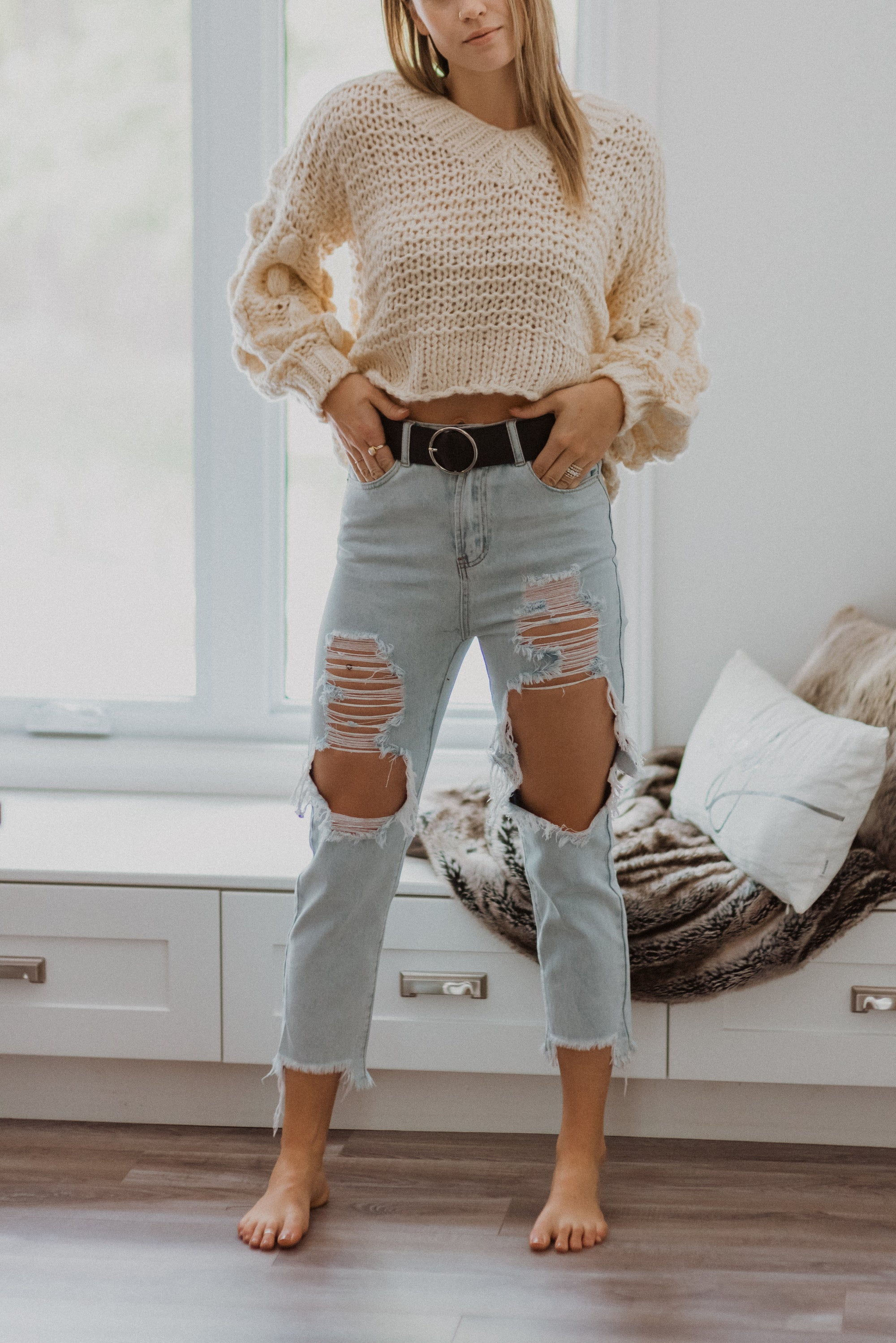 Popular Demand Chunky Knit Pom Pom V-Neck Sweater in Off White / FINAL SALE