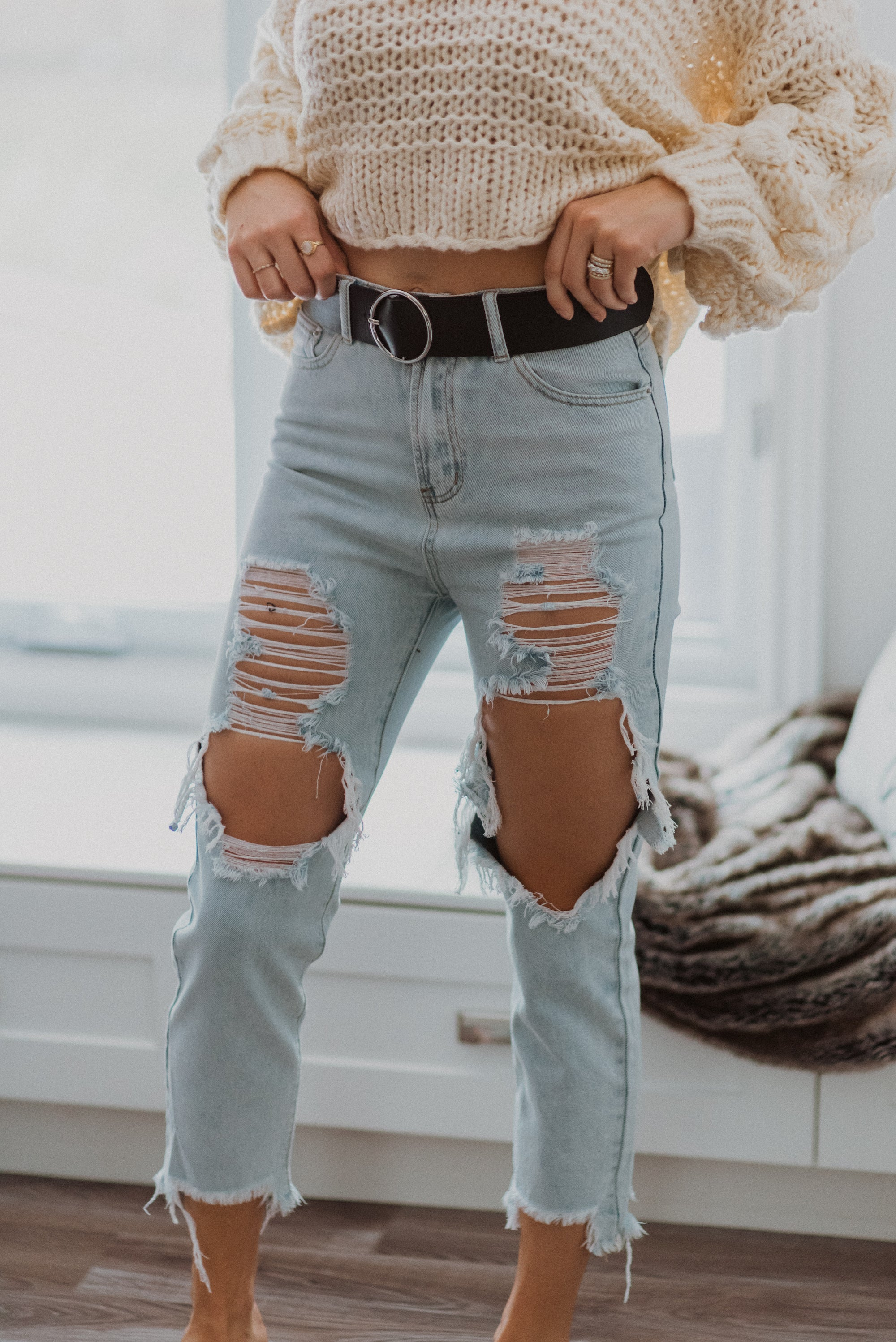 But Make It Fashion Ripped Knees High Waist Mom Jeans