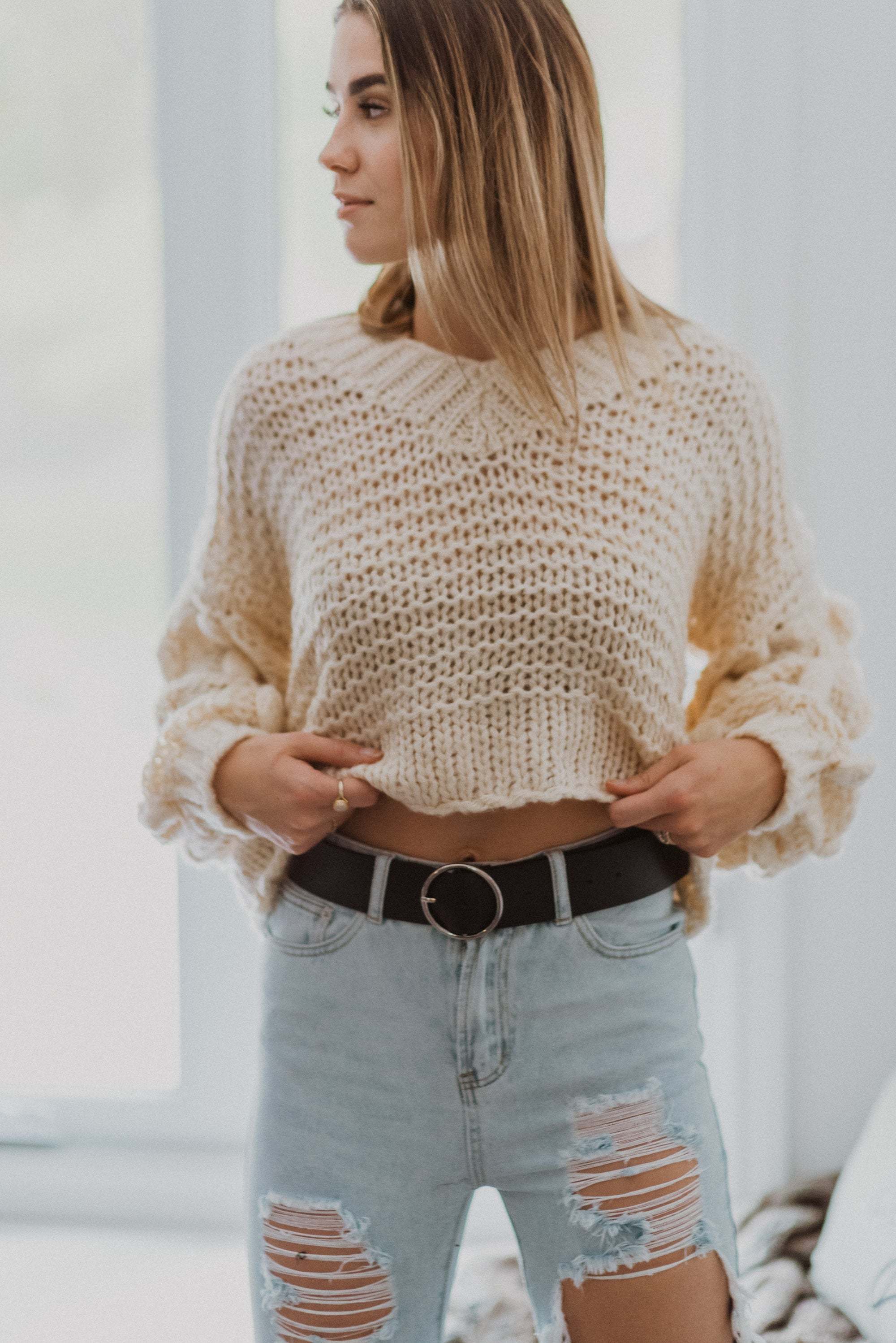 Popular Demand Chunky Knit Pom Pom V-Neck Sweater in Off White