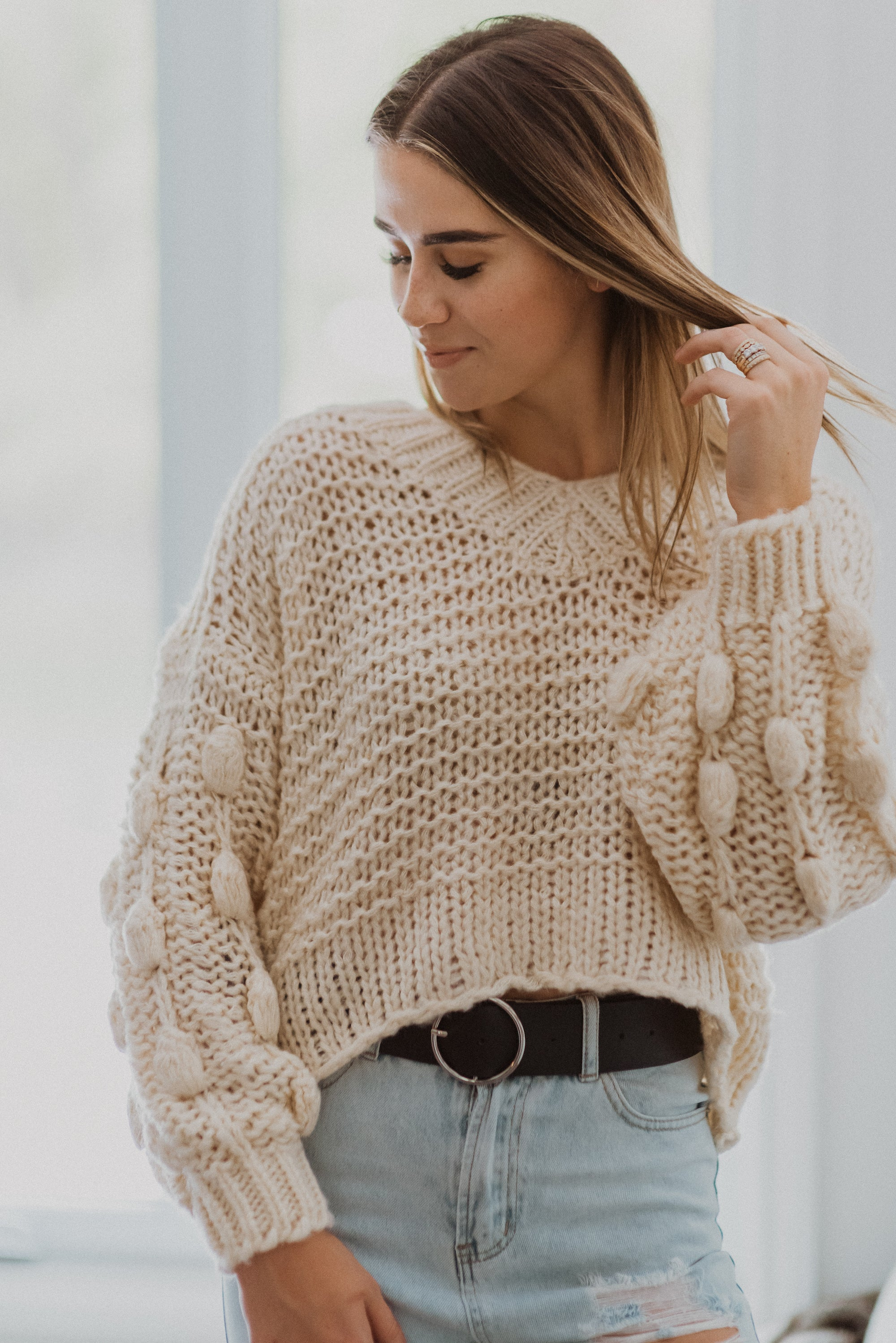 •sold out• Popular Demand Chunky Knit Pom Pom V-Neck Sweater in Off White