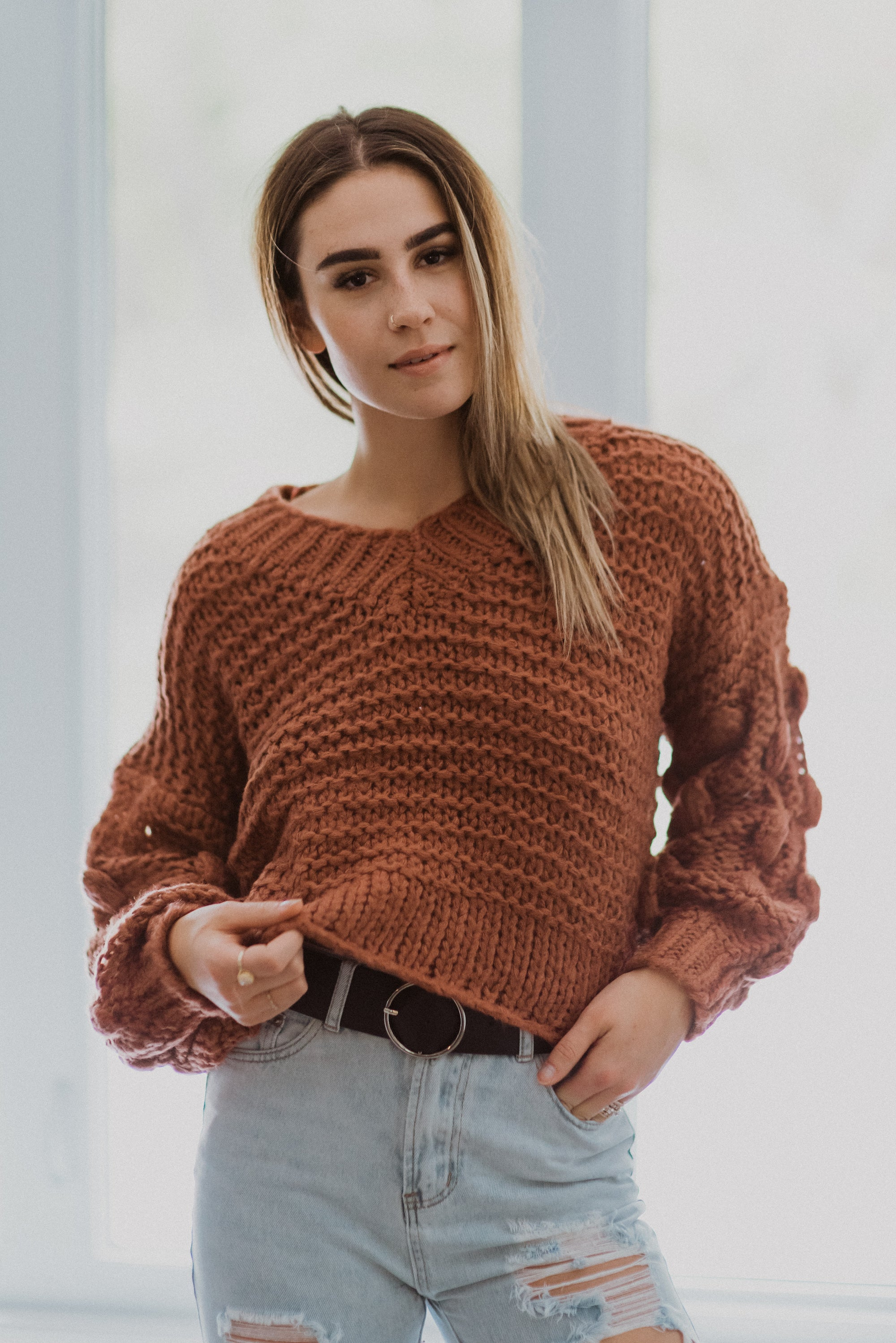 xSOLD OUTx Popular Demand Chunky Knit Pom Pom V-Neck Sweater in Brick