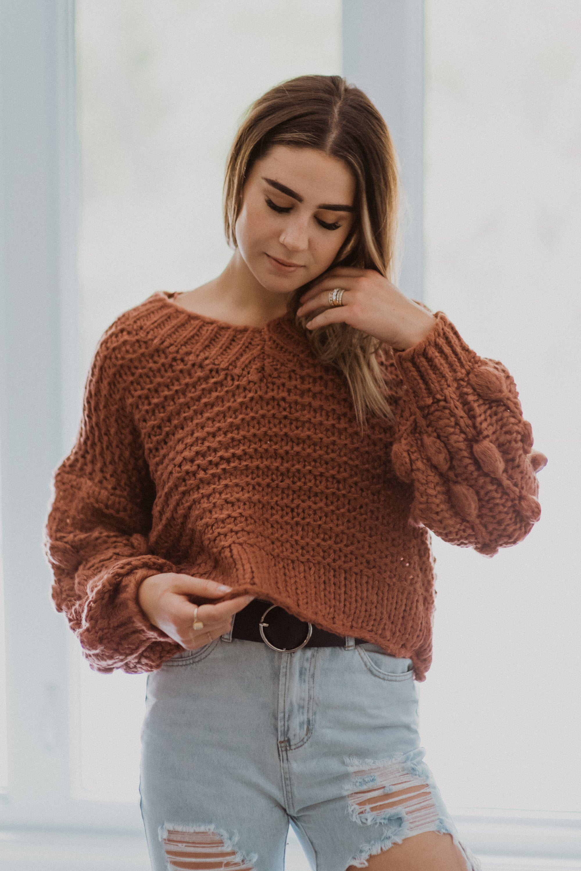 Popular Demand Chunky Knit Pom Pom V-Neck Sweater in Brick