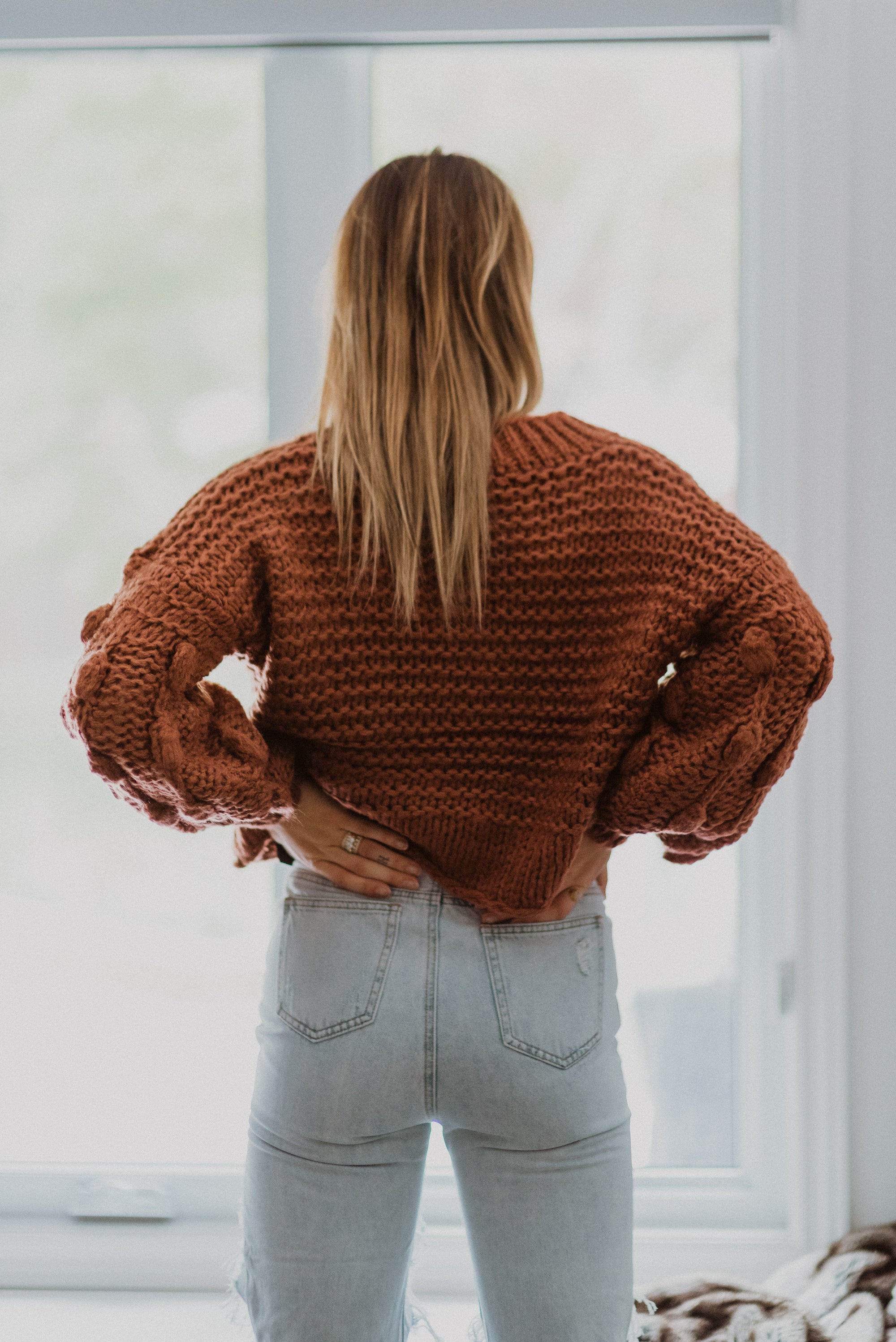 •sold out• Popular Demand Chunky Knit Pom Pom V-Neck Sweater in Brick