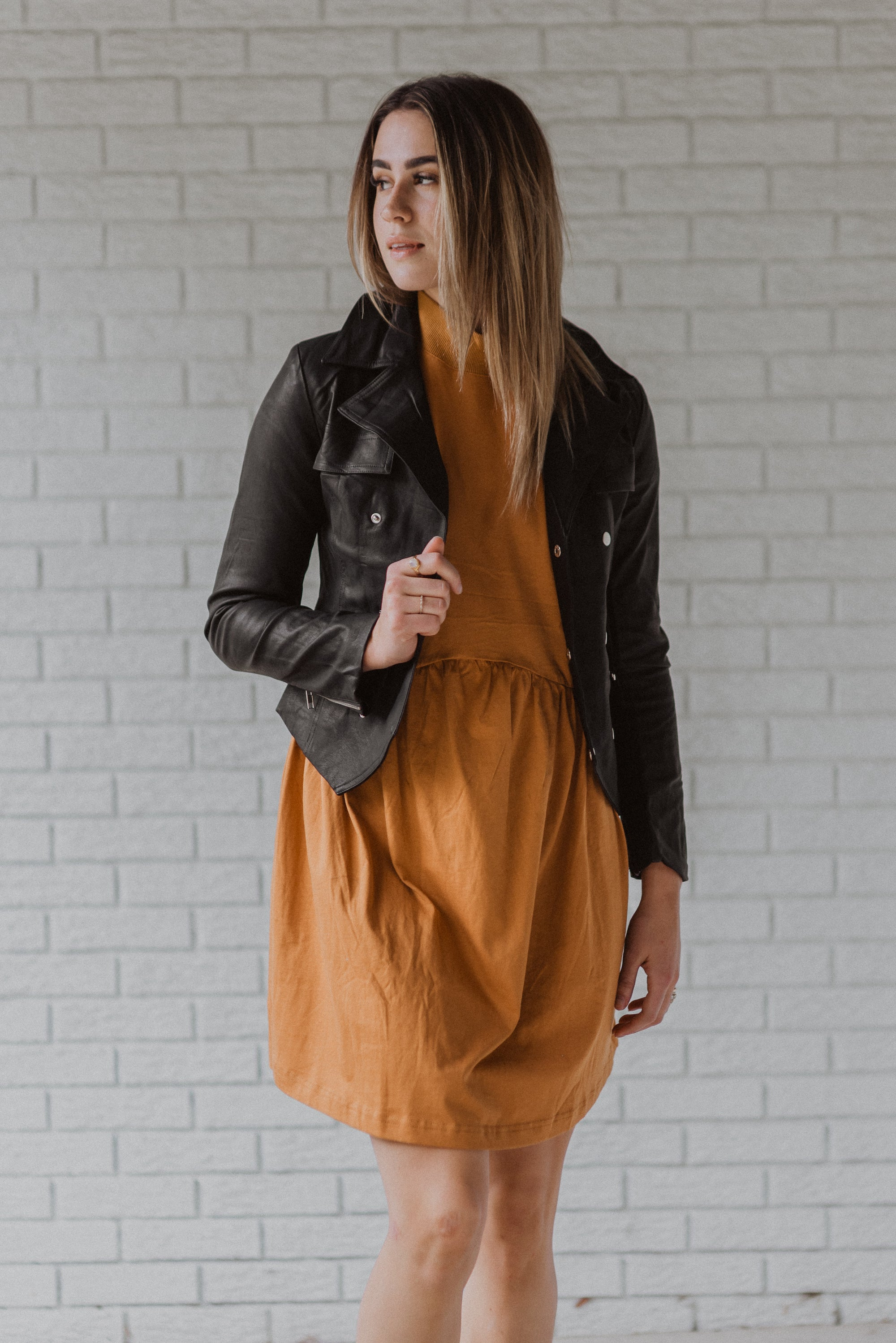 Day and Night Faux Leather Military Jacket