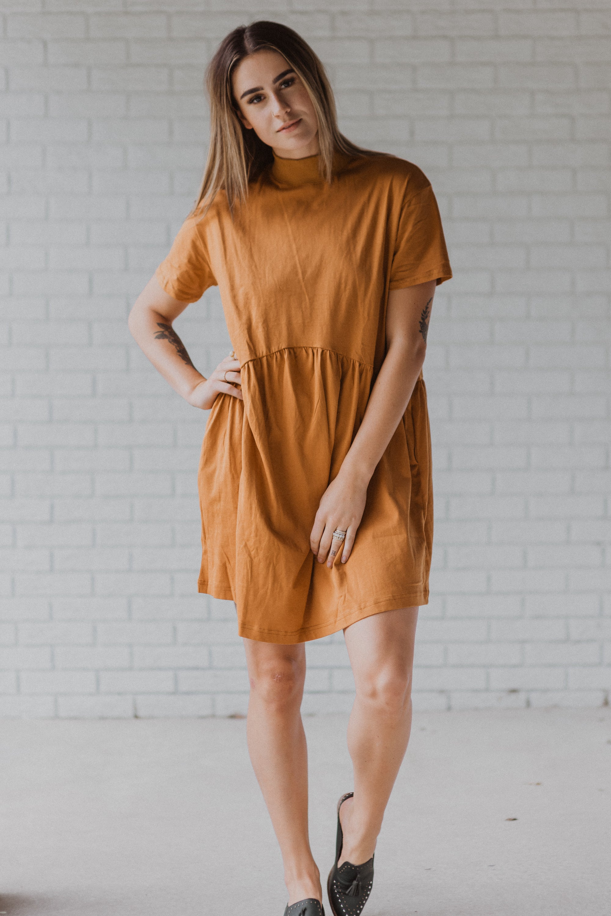 So Marnie Mock Neck Babydoll Dress in Camel
