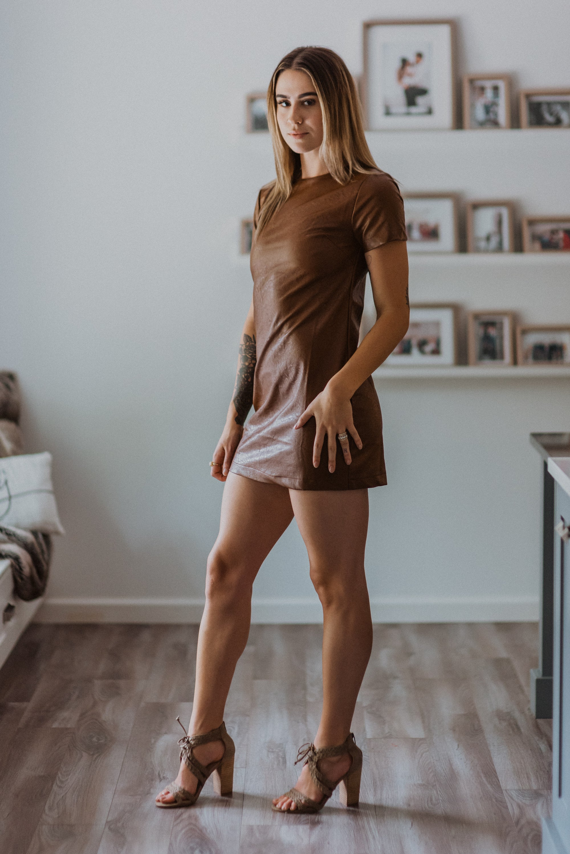 Confessions Faux Leather Shift Dress in Brown / FINAL SALE