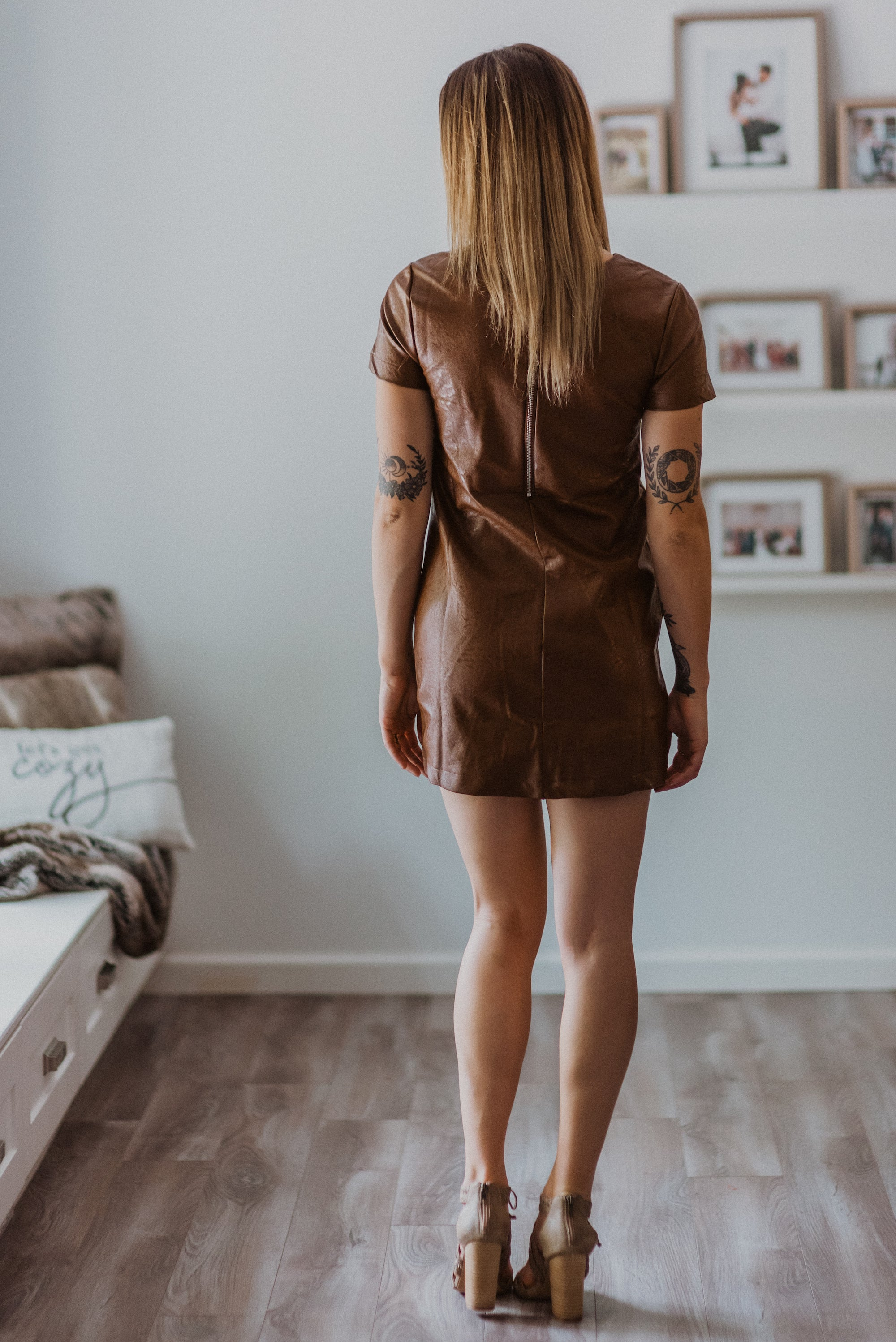 Confessions Faux Leather Shift Dress in Brown