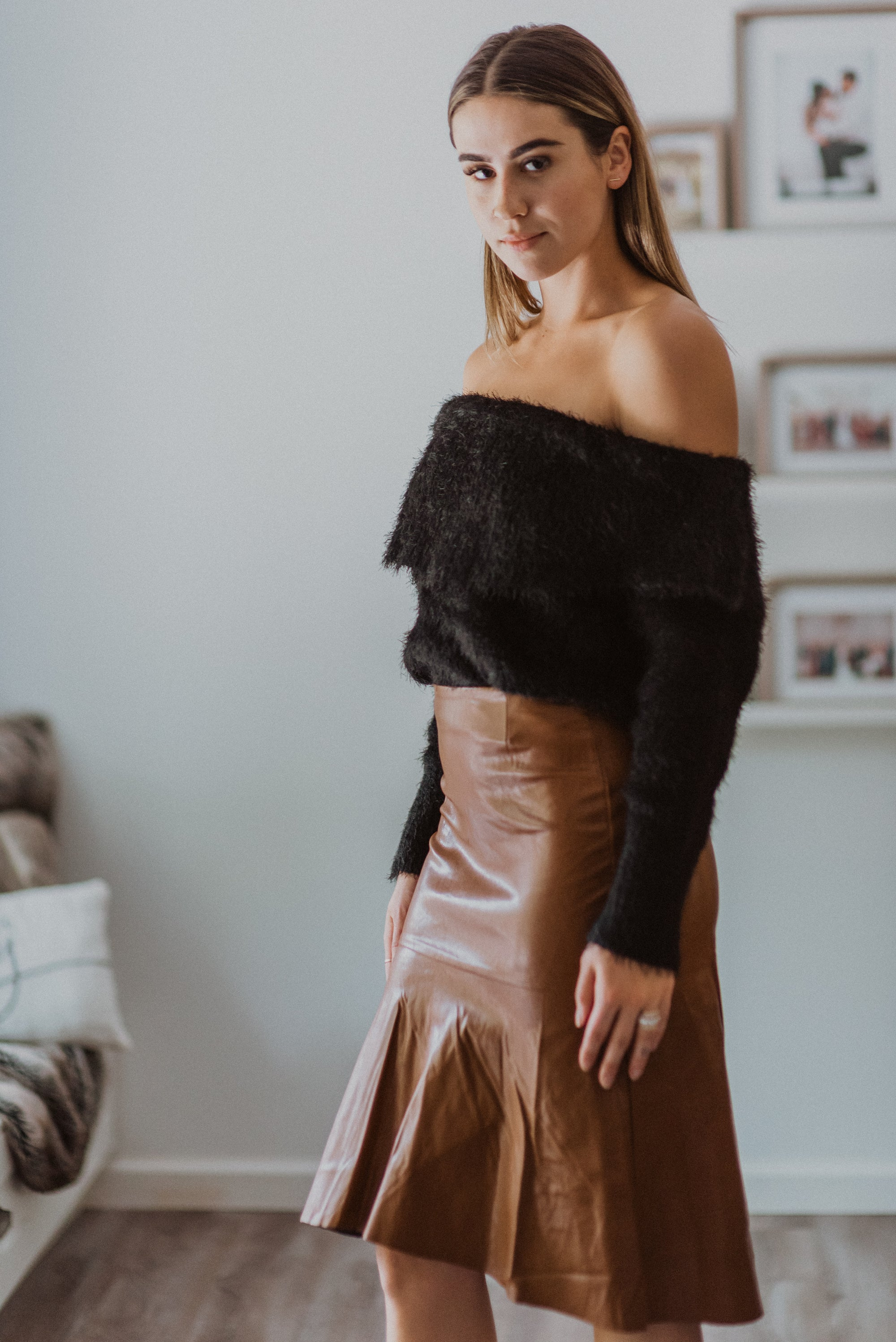 Cut to Perfection Pleather Ruffled Midi Skirt / FINAL SALE