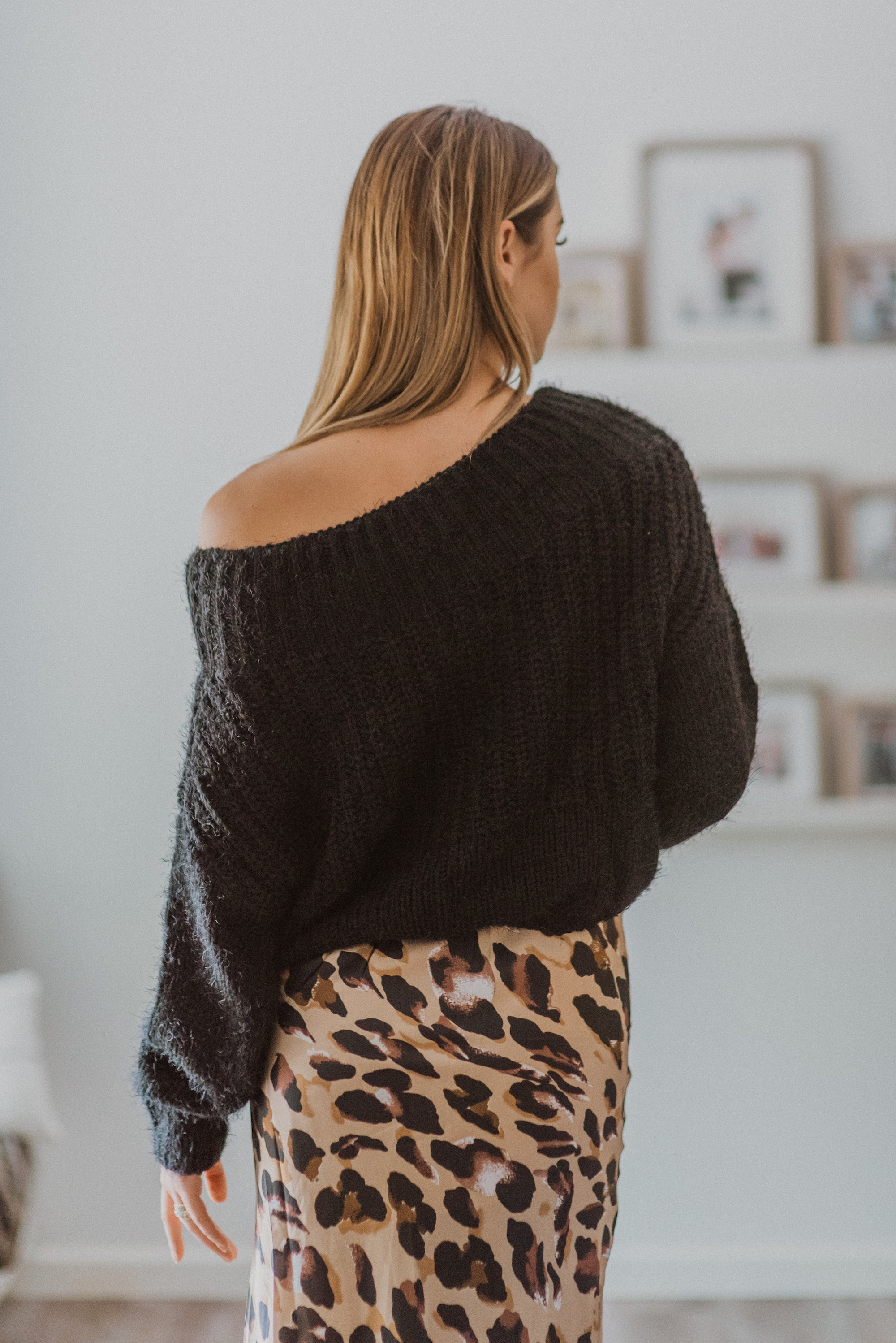 Feeling Pretty Eyelash Knit Off the Shoulder Sweater in Black / FINAL SALE