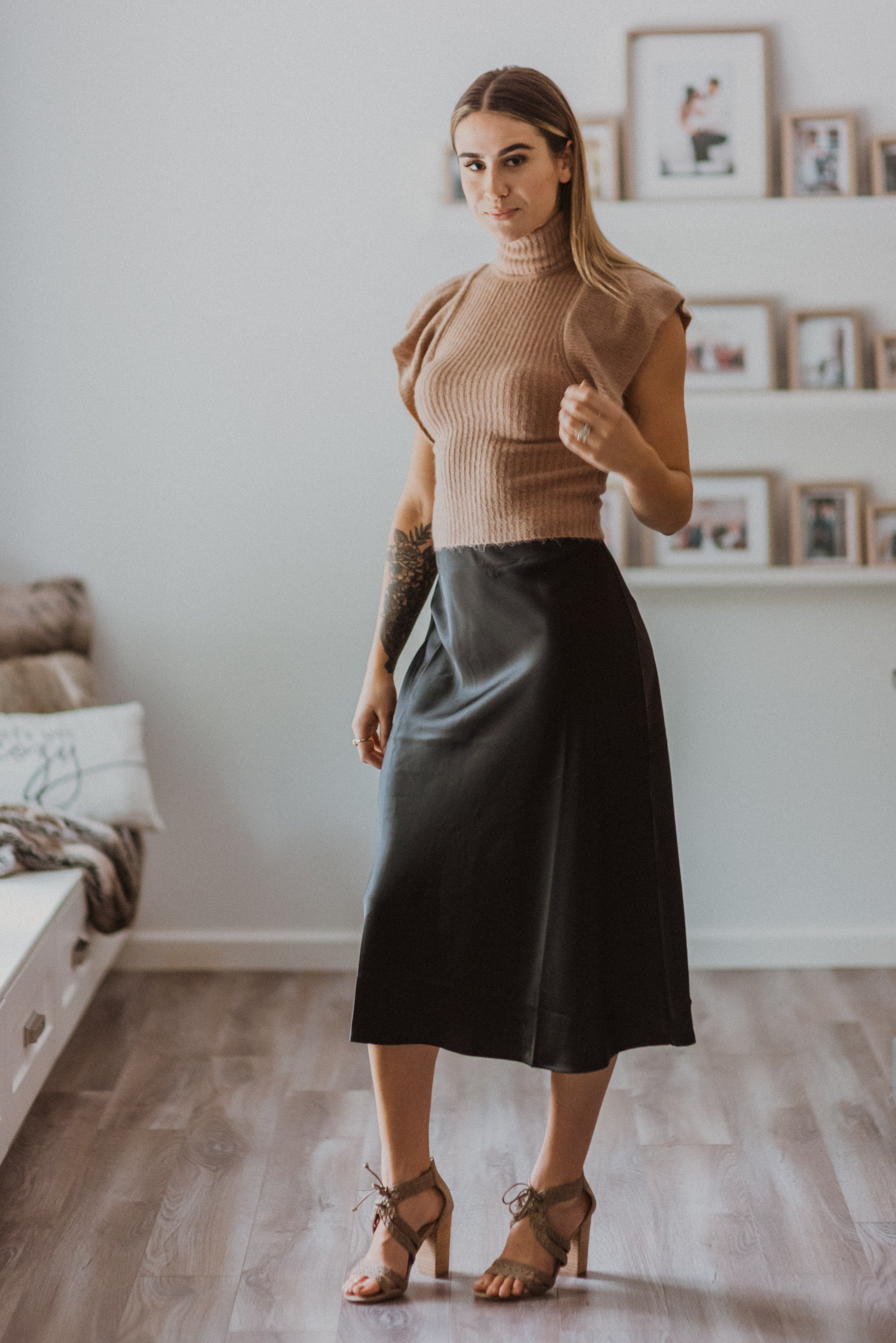 Elevate Satin High Waist Midi Flare Skirt in Black / FINAL SALE