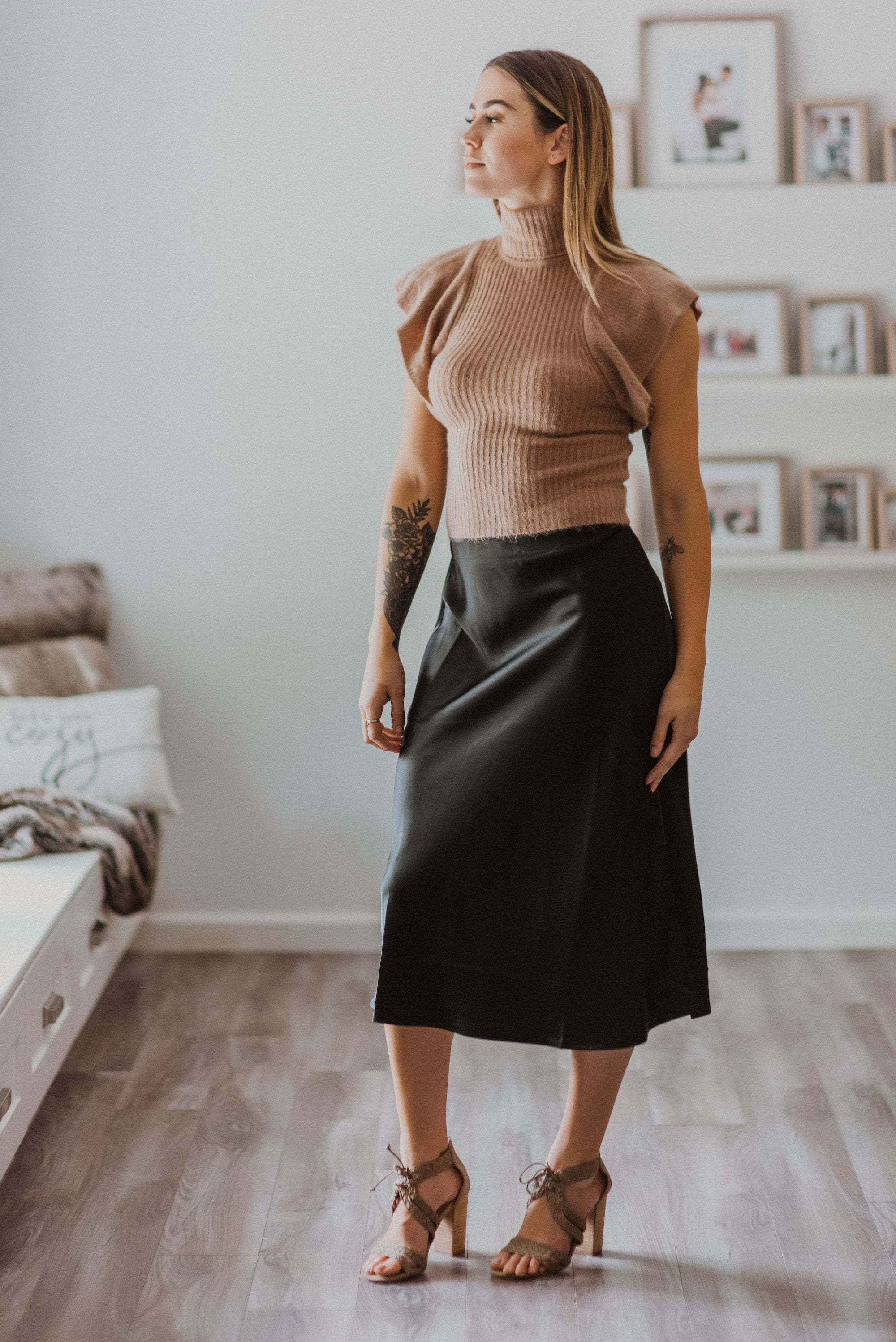 Elevate Satin High Waist Midi Flare Skirt in Black