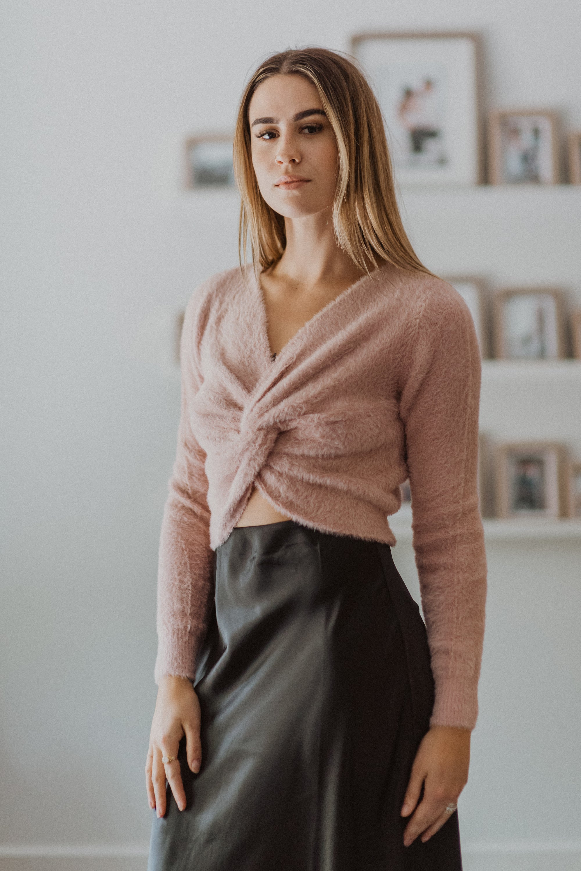 The Sweetest Fuzzy Twist Front Crop Sweater in Pink